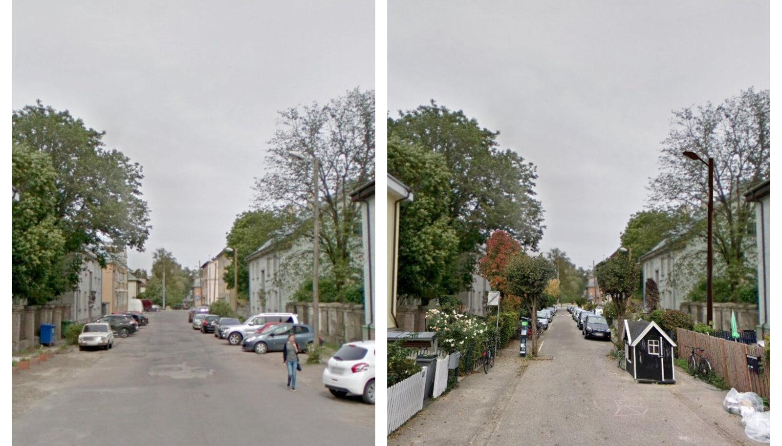 """PRAEGU. Tuulemäe tee Majaka asumis Lasnamäe alguses. """"Sümpaatne rahulik ja meeldivate hoonetega piirkond, välja arvatud, et kogu tänavaruum on olematu,"""" kirjutab mitte_tallinn. SOOVITUS. """"Variant Kopenhaageni südalinnast sarnaselt tänavalt võetud lahendusega. Rahulik ja rohelust täis elukeskkond. Mida rohkemat vaja on?"""" kirjutab mitte_tallinn."""