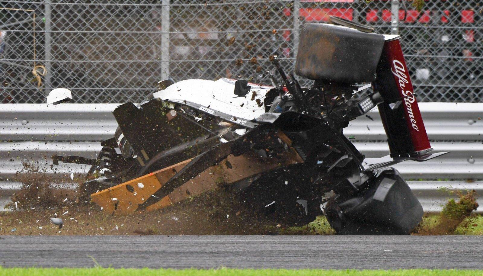 Marcus Ericssoni avarii 2018. aasta Itaalia GP vabatreeningul.
