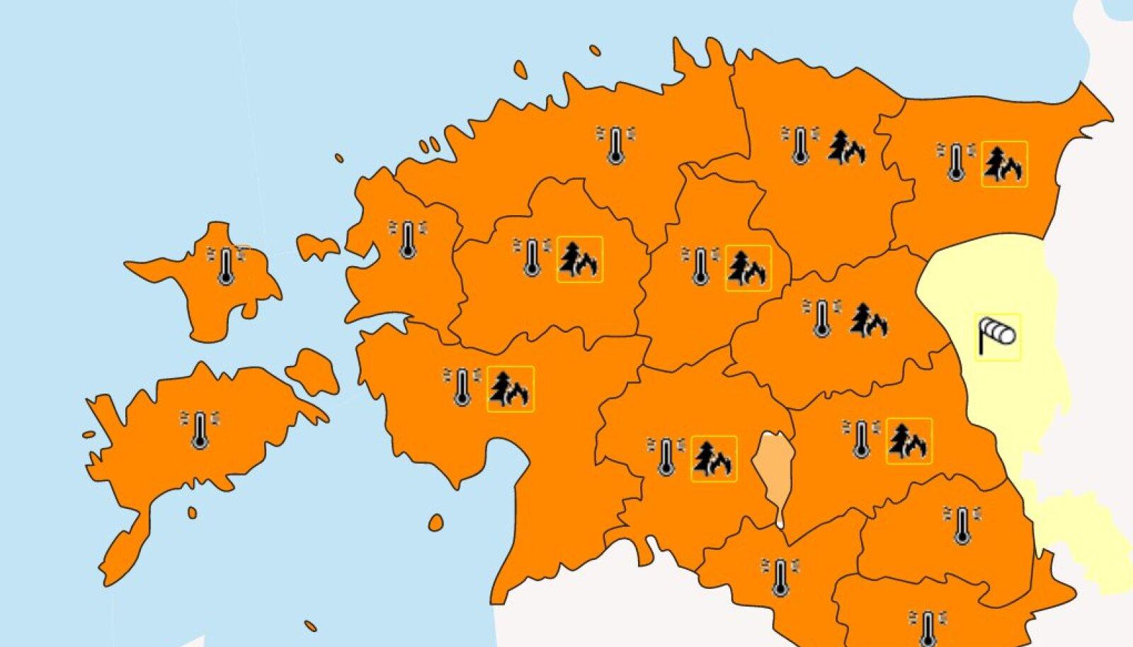 Oranž hoiatus tähenda, et ilm on ohtlik