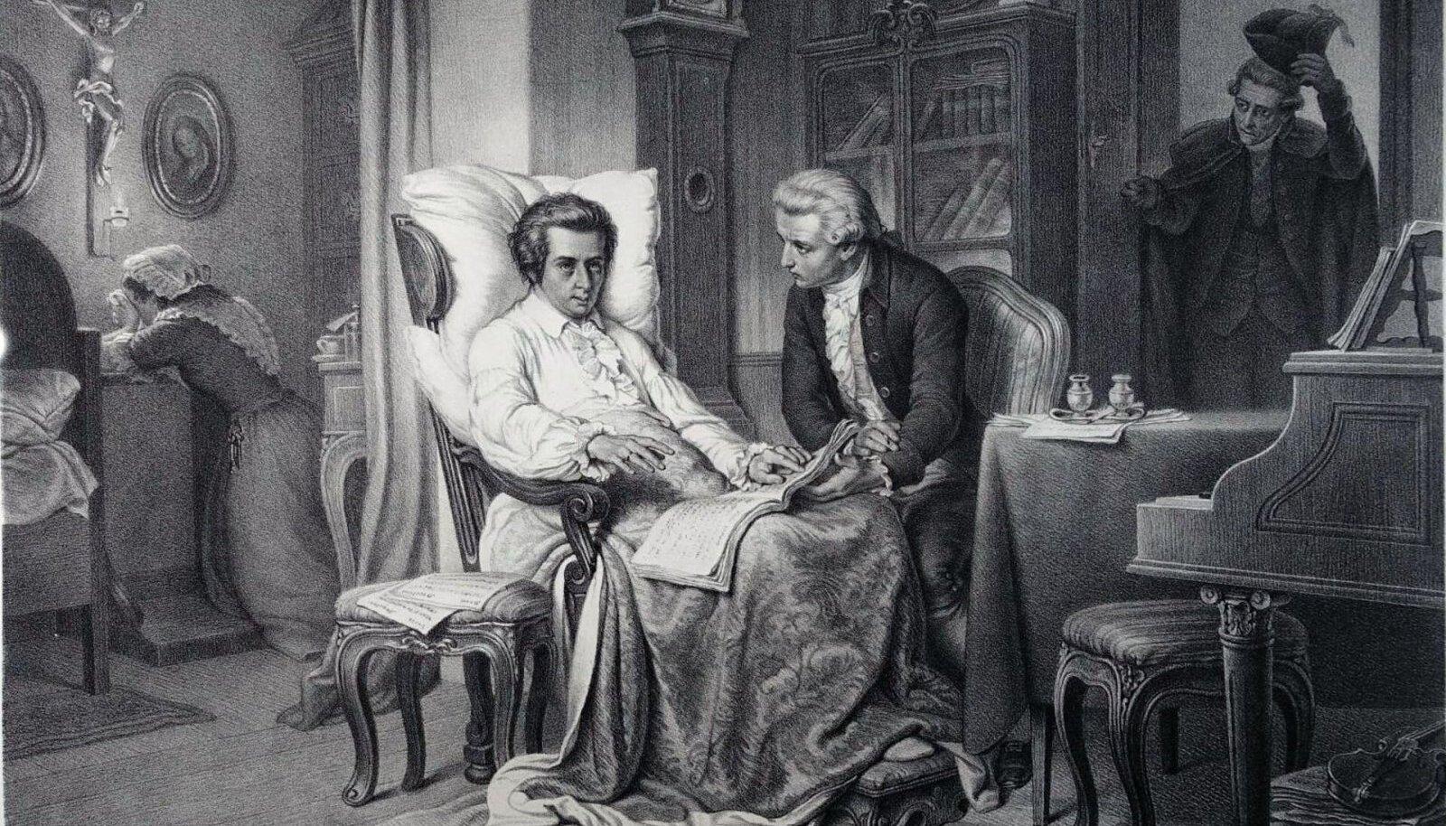 Franz Schrammi joonistus Mozartist tolle viimastel päevadel (Pilt: Wikimedia Commons)