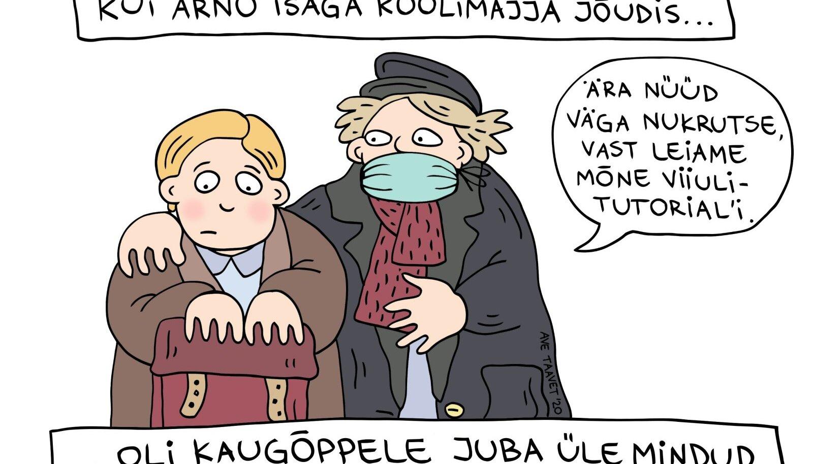 Kui Arno isaga koolimajja jõudis, kandis õpetaja Laur juba maski.