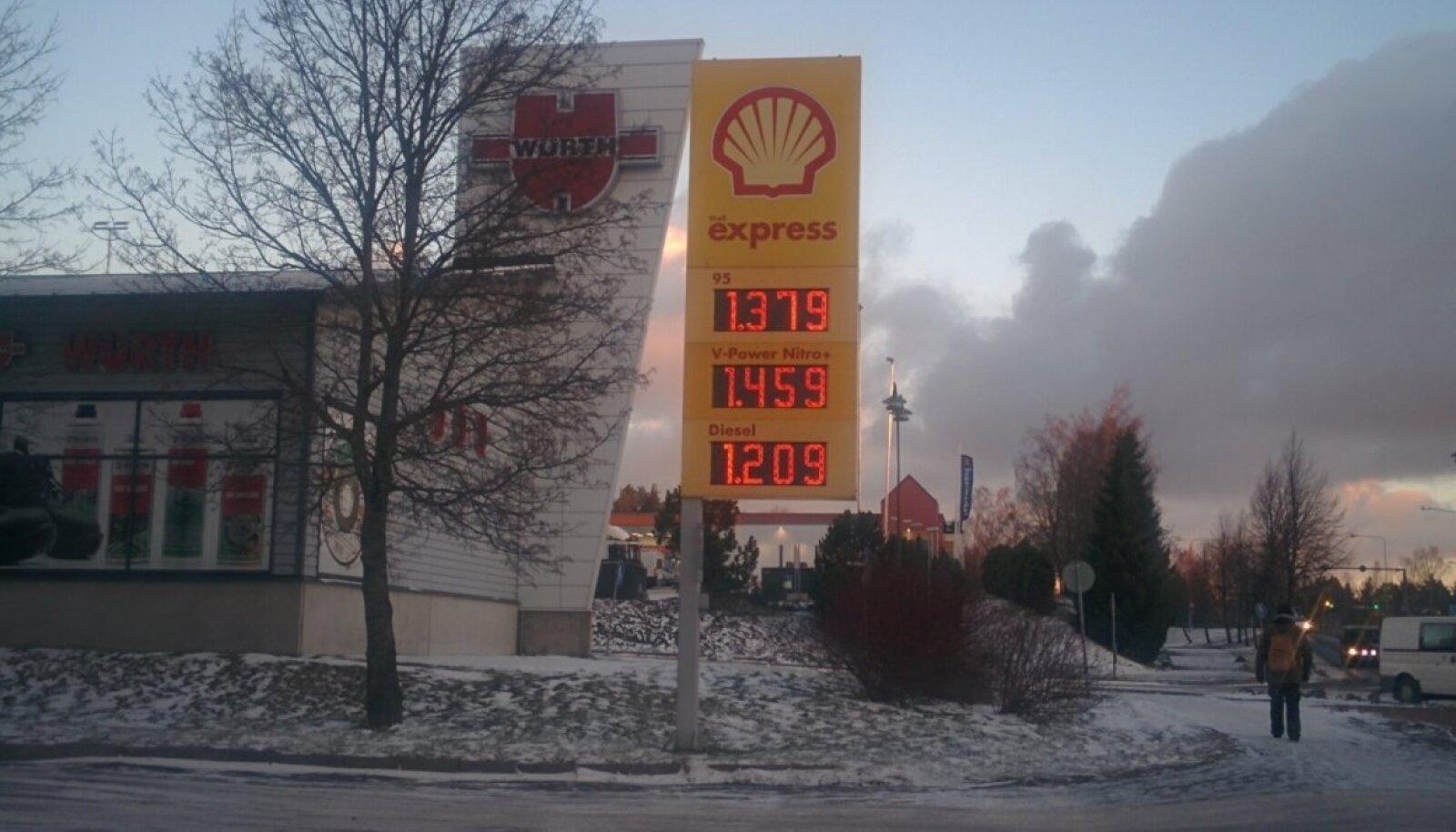 Kütuse hind Soome Shellis