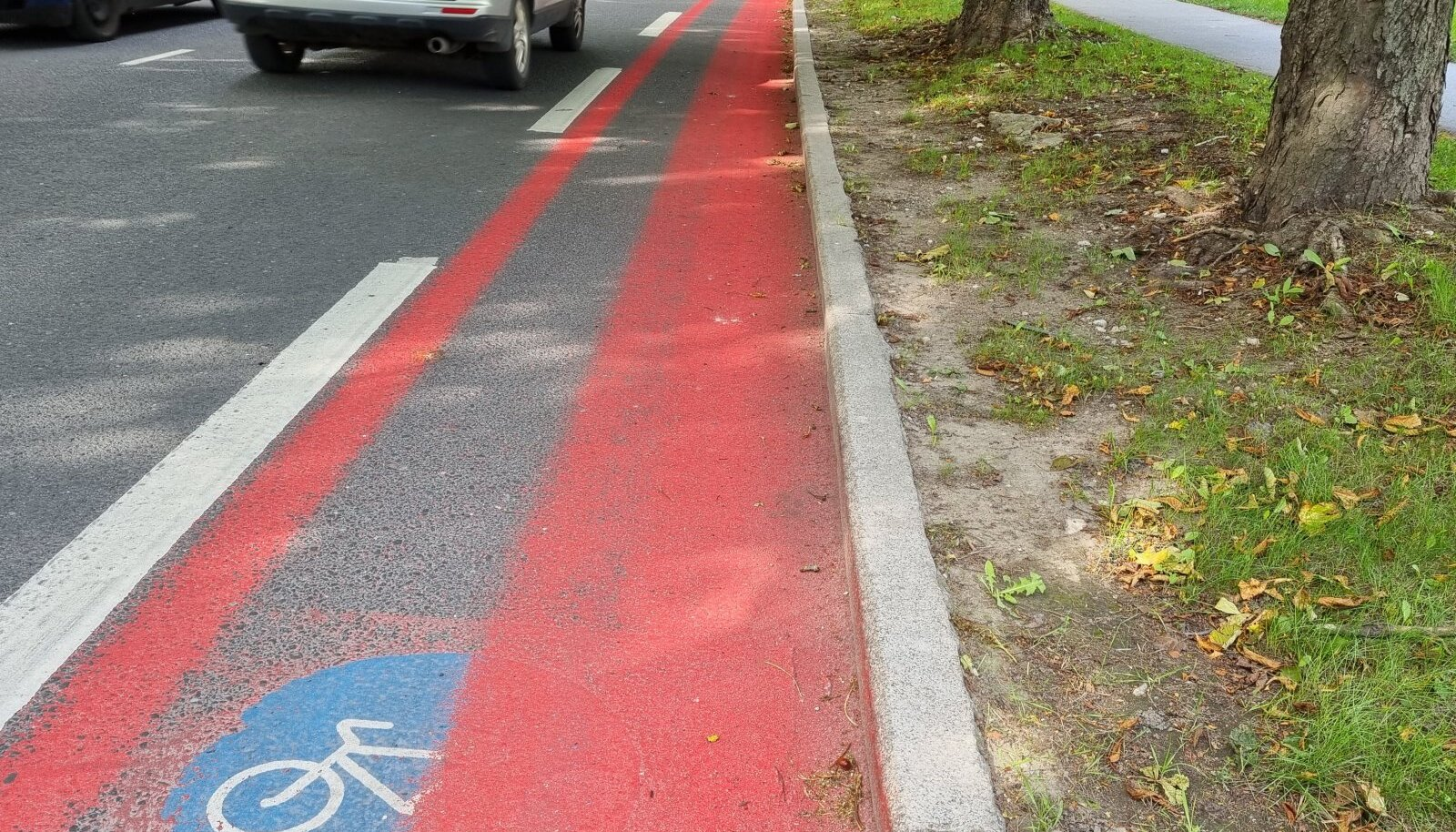 Punase plastiga kaetud rattarada Tehnika tänaval