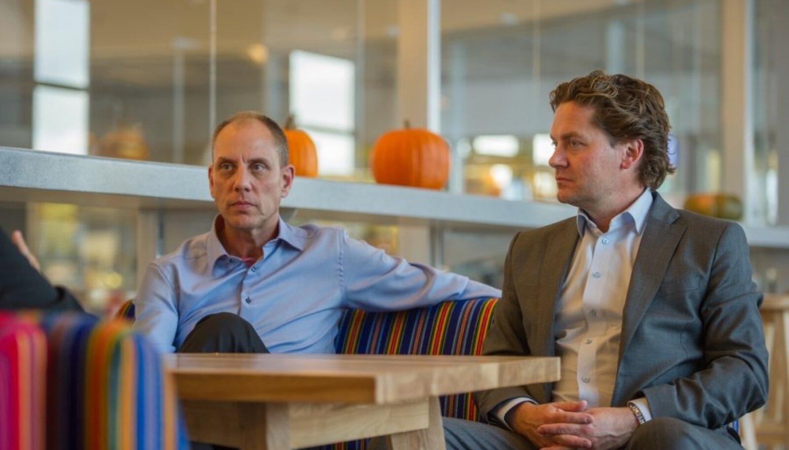 """Jon Roskill (vasakul) ja Eilert Giertsen Hanoa lahkusid Eestist väga positiivselt meelestatuna. """"Eesti pluss on kindlasti tugev tehnoloogiakompetents ja IT-haridus,"""" märkis Roskill. Ka geograafiliselt on Eesti nende jaoks igati hea koha peal: Skandinaavia ja Venemaa naabruses."""