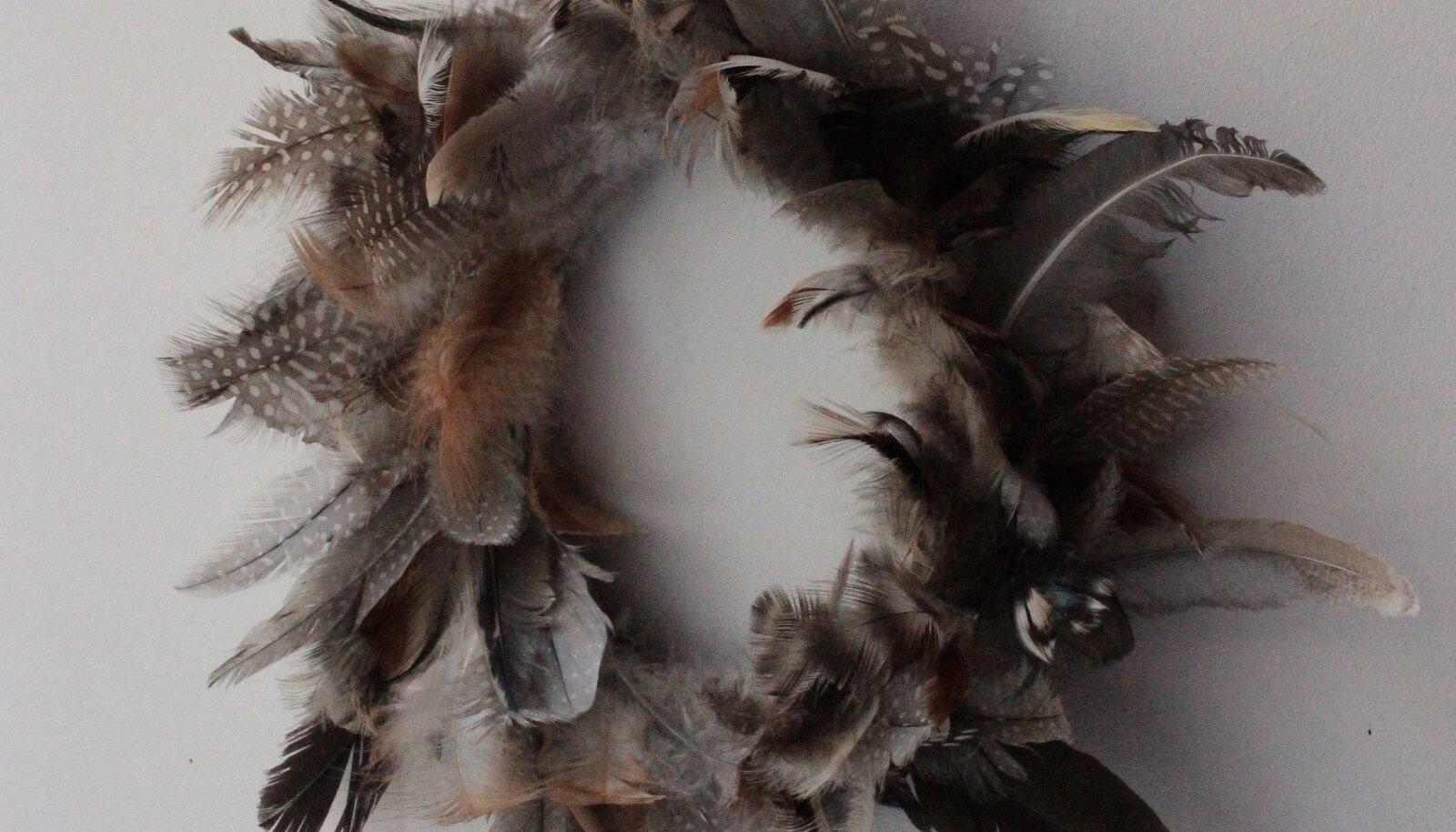 Sulepärjas on lisaks värviliste dominantide ja pruunide Lohmann Browni kanade sulgedele ka täpilised pärlkanade suled.