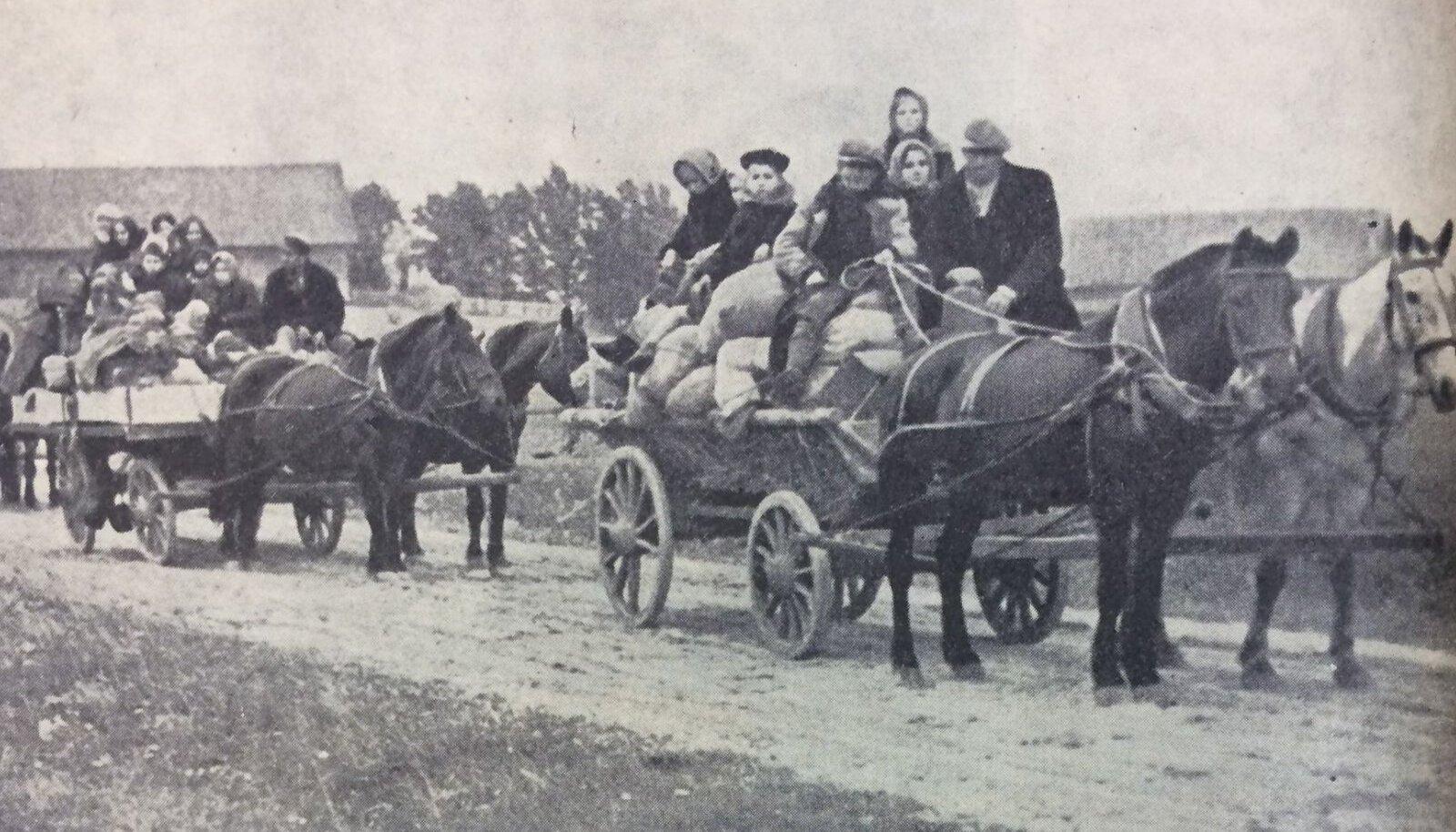 Inimesed kolisid sõja ajal linnast maale.