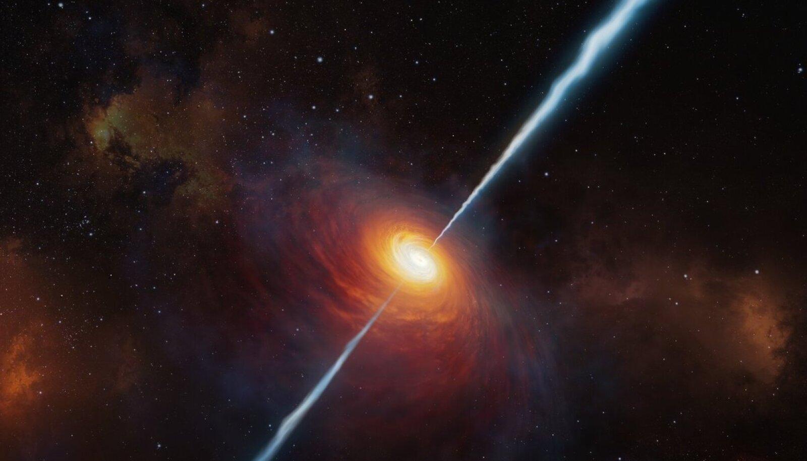 Kunstiline nägemus sellest, kuidas P172+18 välja nägi, kui meie universum kõigest 780 miljoni aasta vanune oli (pilt: ESO)