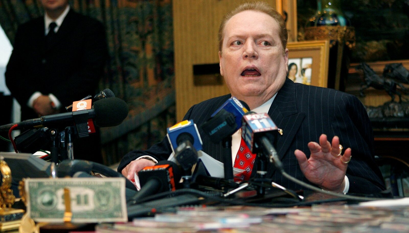 """FILE PHOTO: Larry Flynt, head of Larry Flynt Publications, speaks to the media about the """"D.C. Madam"""" sex scandal during news conference  in Beverly Hills"""