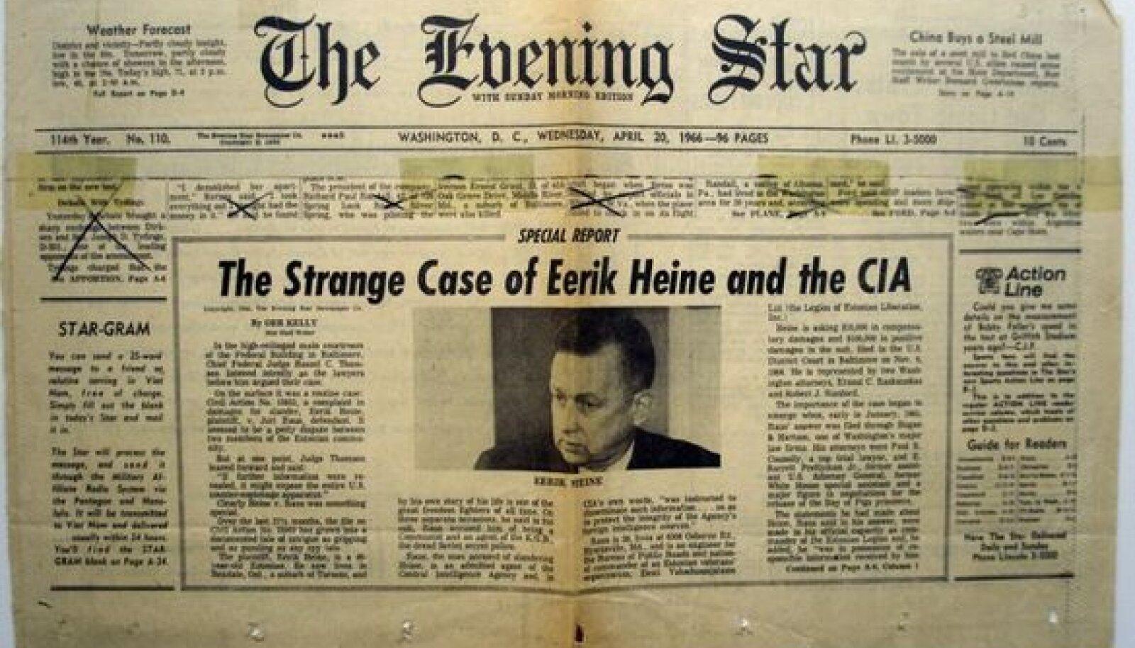 ESIKÜLJE UUDIS: Eerik Heine ja CIA kohtuprotsess äratas USAs 1960ndatel suurt tähelepanu. Ajaleheväljalõige Eesti New Yorgi peakonsulaadi fondist riigiarhiivis.