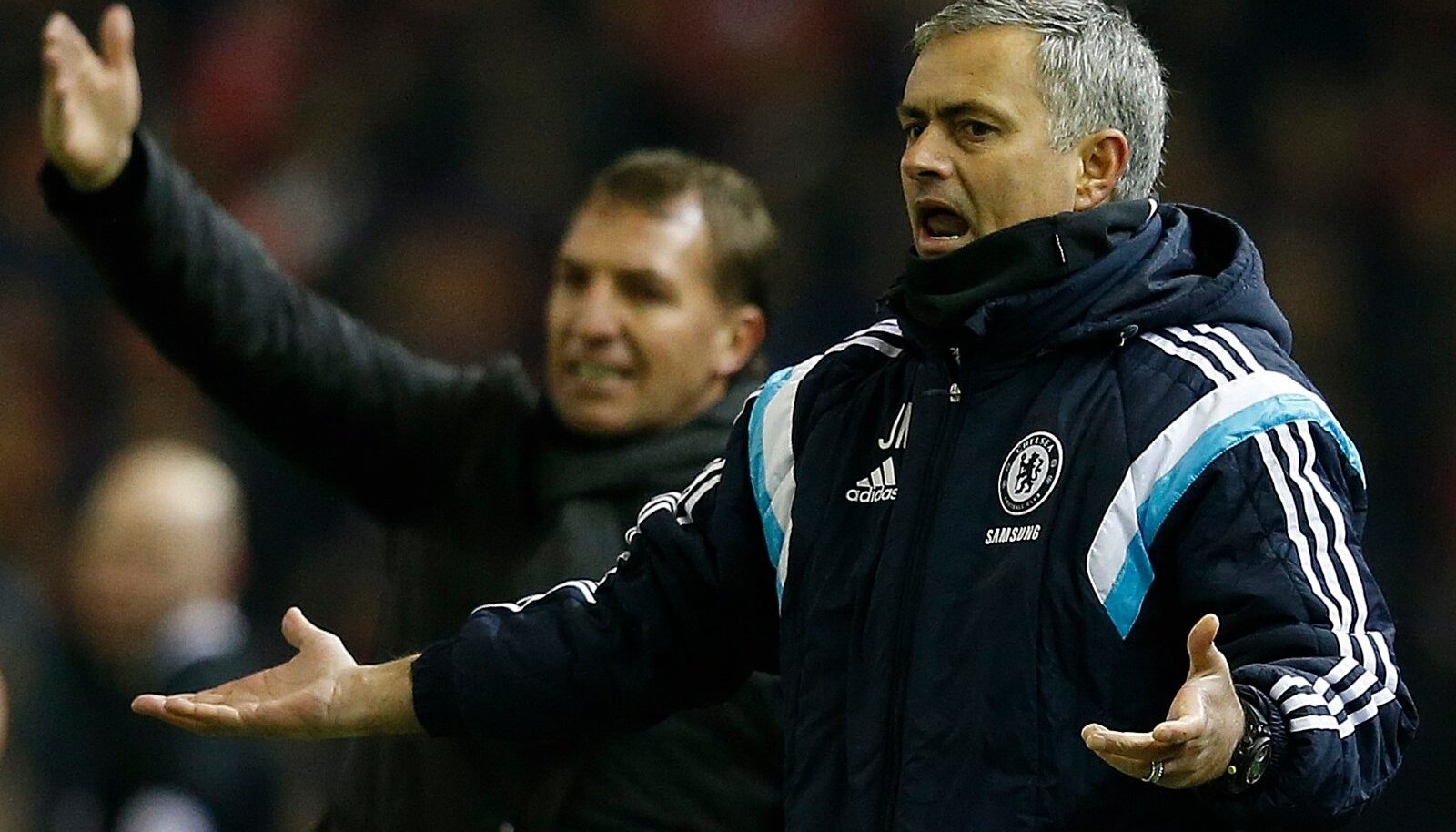 Chelsea's manager Mourinho reacts during their English League Cup semi-final first leg soccer match against Liverpool at Anfield in Liverpool