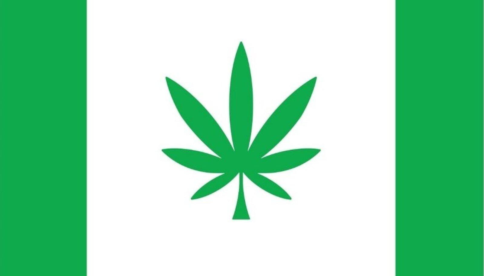 Lipukangas jaguneb kolmeks: ruudukujulisel valgel kesklaiul on rootsudeta roheline kanepileht. Lipukanga äärtes on võrdse laiusega rohelised püstlaiud. Lipu roheline on heledam, kui vapi roheline.