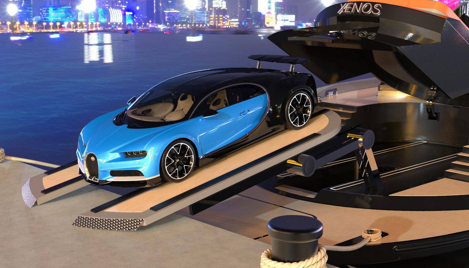 Bugatti Chiron выезжает из недр роскошной яхты