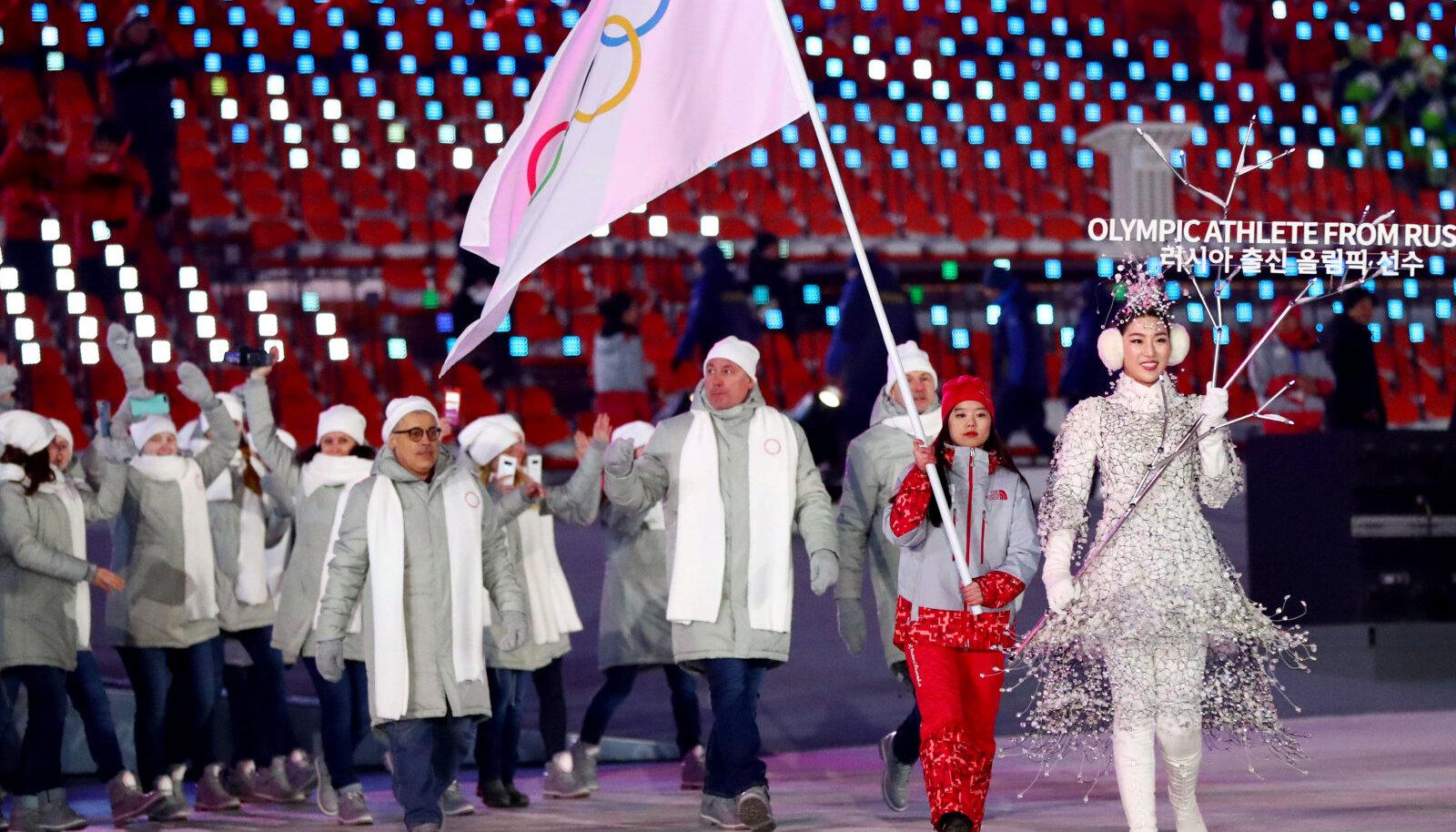 """Venemaad ei lubatud ka Pyeongchangi olümpiamängudele - nende sportlased võistlesid """"Olümpiasportlased Venemaalt"""" nimelise koondise eest."""