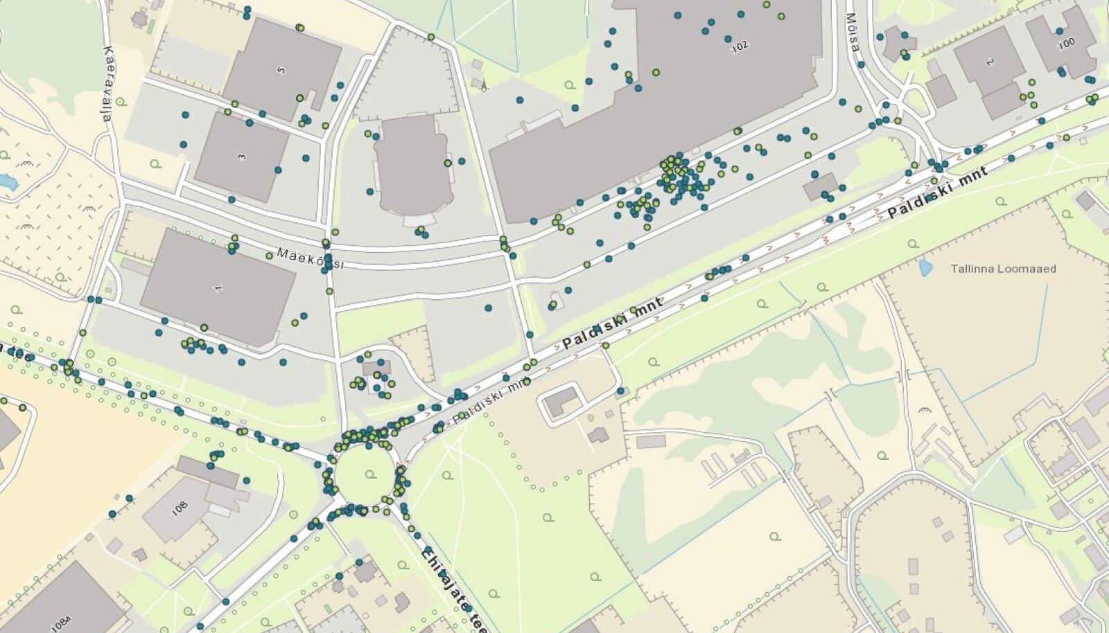 Kaart 2015.a ning 2016.a jooksul toimunud liikluskindlustusjuhtumitest Rocca al Mare ristmikul ja kaubanduskeskuses