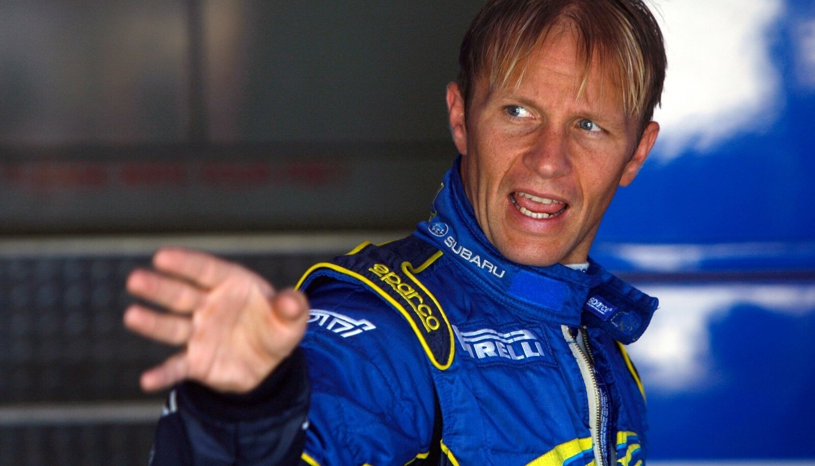 Subaru team driver Solberg of the Netherlands gestures at the end of the Shakedown special stage before the official start of the Rally of Italy in Sardinia