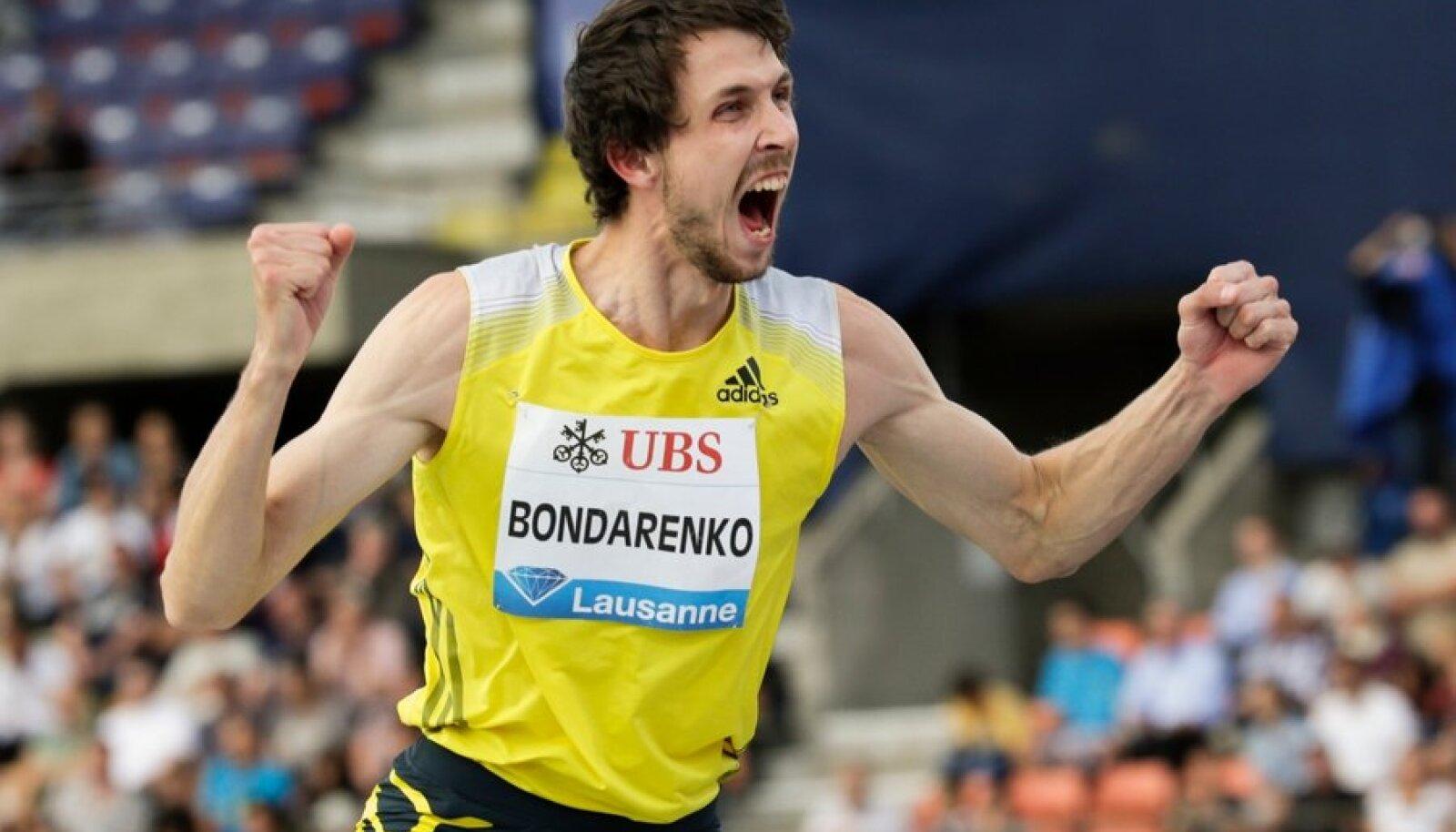 Bondarenko of Ukraine celebrates victory in the High Jump event of the Lausanne Diamond League meeting in Lausanne