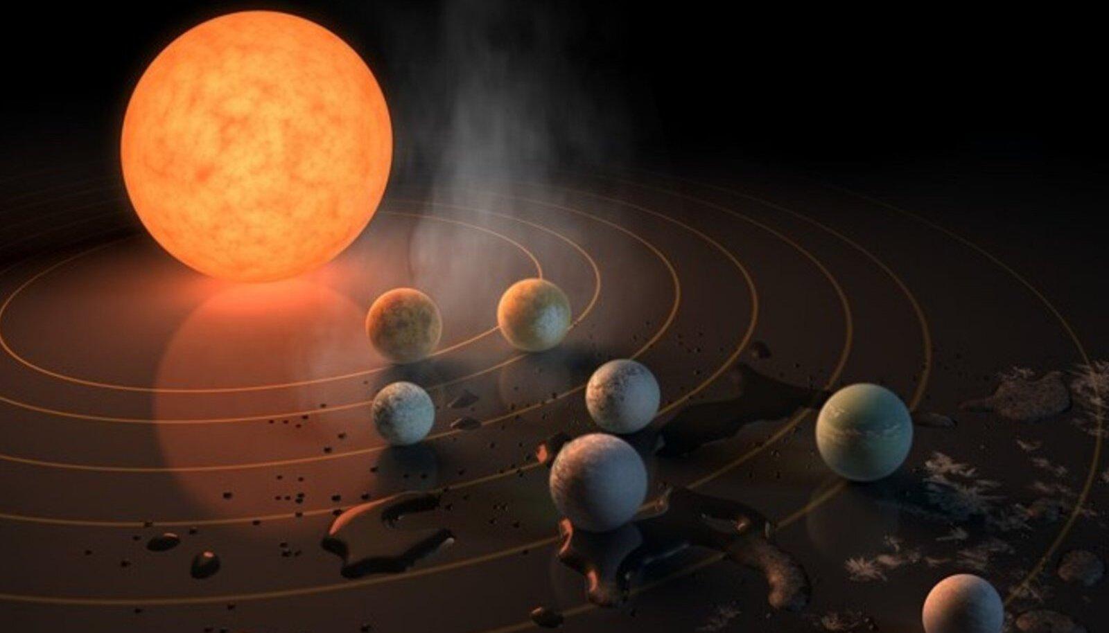 TRAPPIST--1 süsteem kunstniku nägemuses