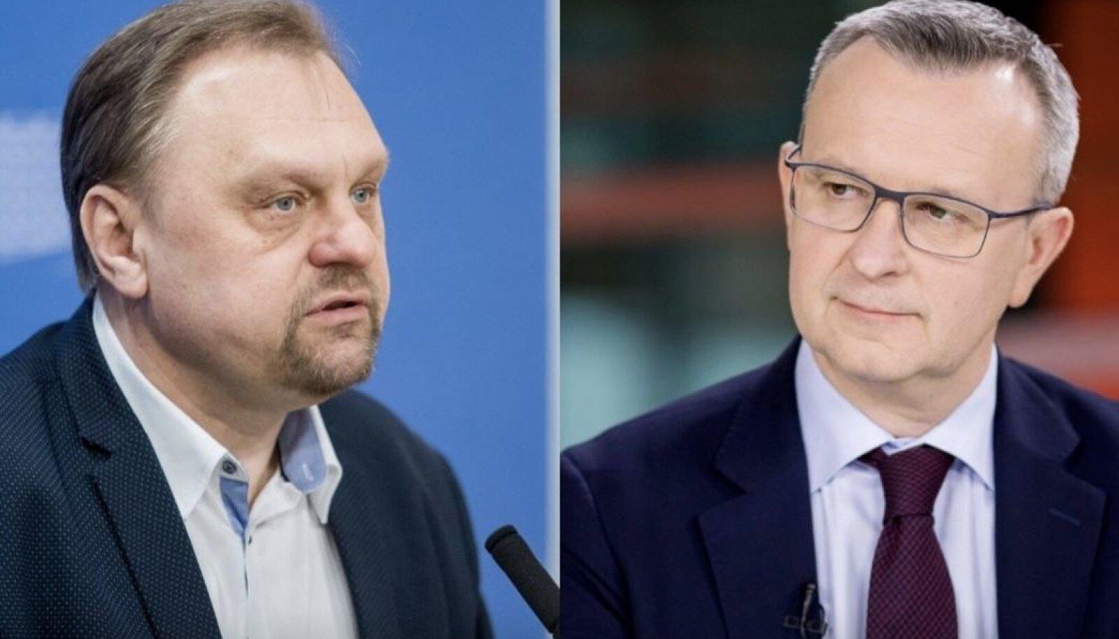 Leedu ettevõtjate keskliidu president Valdas Sutkus ja pangaliidu president Mantas Zalatorius.