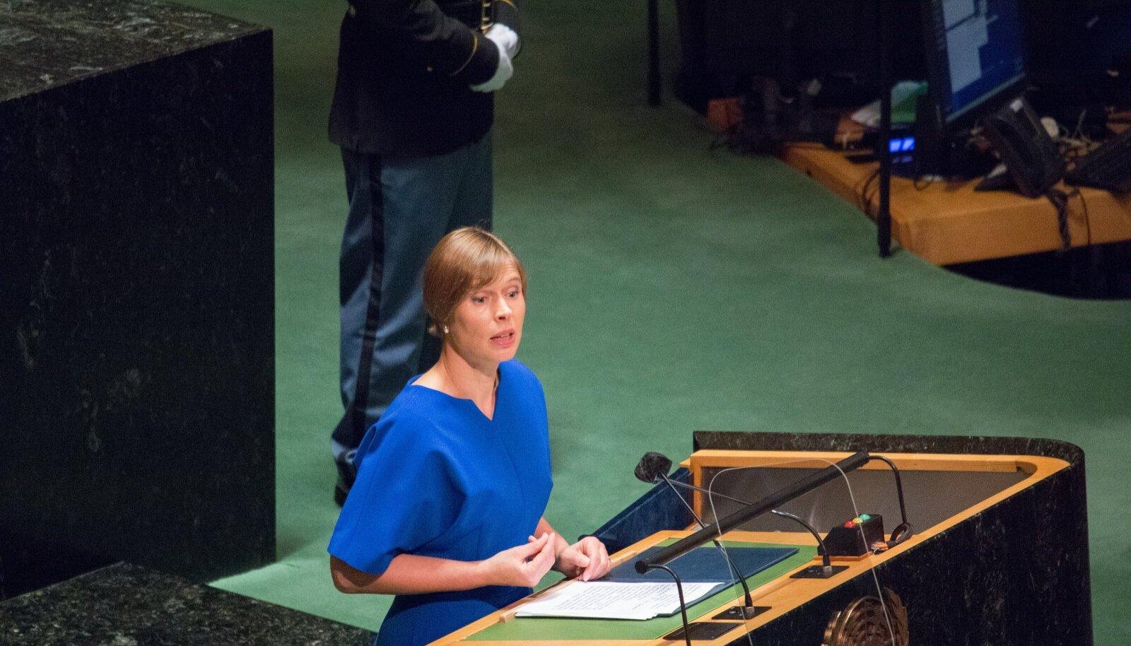 Kersti Kaljulaid ÜRO peaassambleel kõnelemas