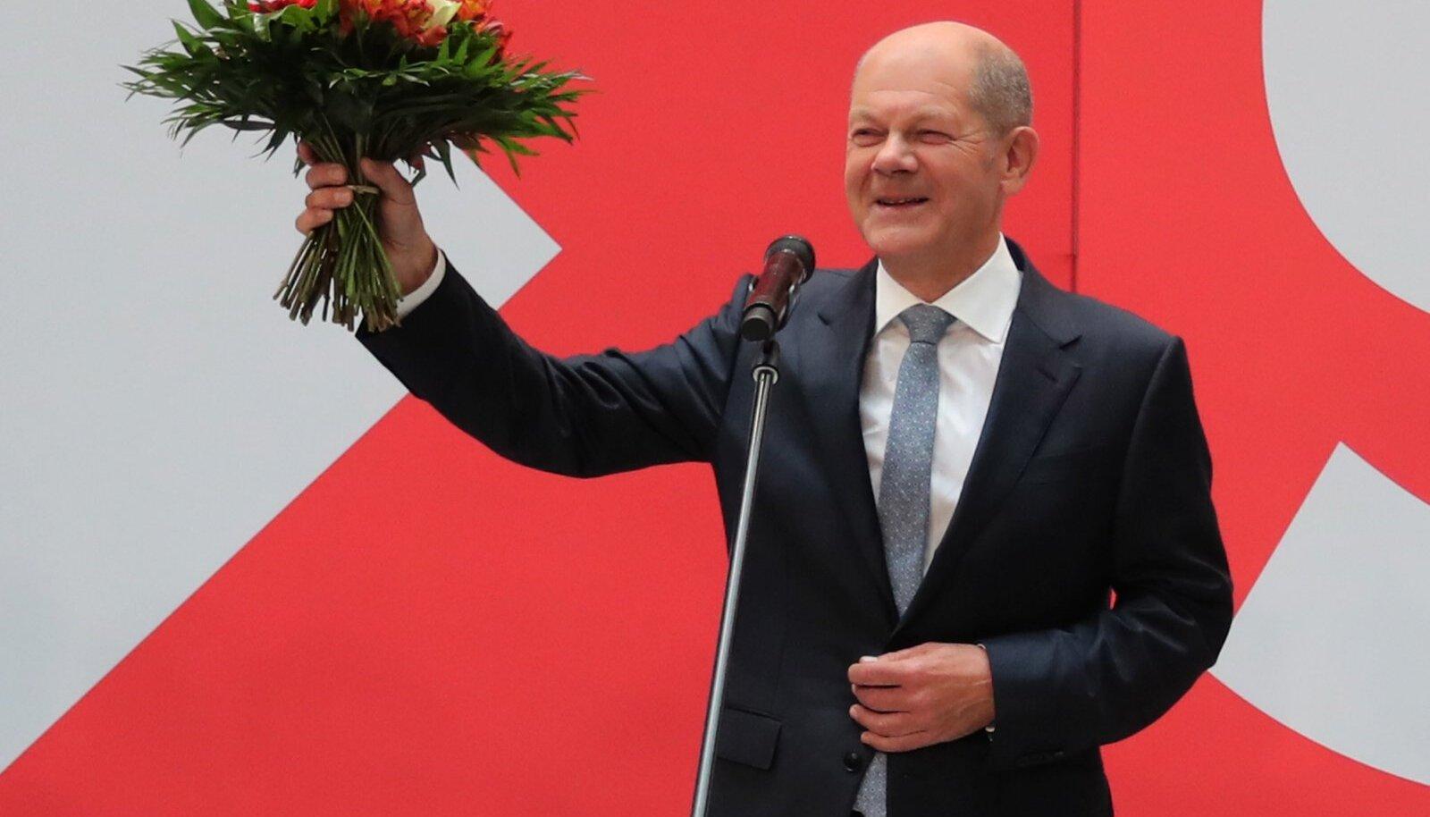 Kui kõnelused roheliste ja vabade demokraatidega õnnestuvad, saab Saksamaa kantsleriks Olaf Scholz.