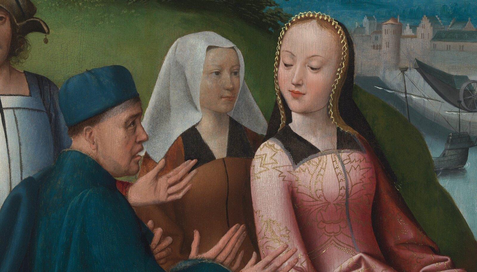 PEEN PINTSLITÖÖ: Goossen Van der Weydeni Püha Dymphna altariretaabel (u 1505) võlub meisterlikult maalitud detailidega, riidevoltidest ja -mustritest kuni taamal paistva linna kujutamiseni. Detail Dymphna põgenemist kujutavalt maalitahvlilt.