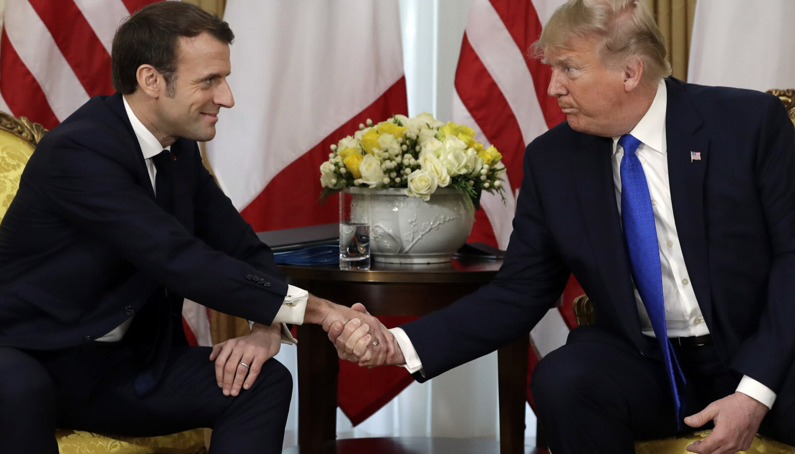 Prantsuse president Emmanul Macron ja USA riigipea Donald Trump täna Londonis kohtumisel.