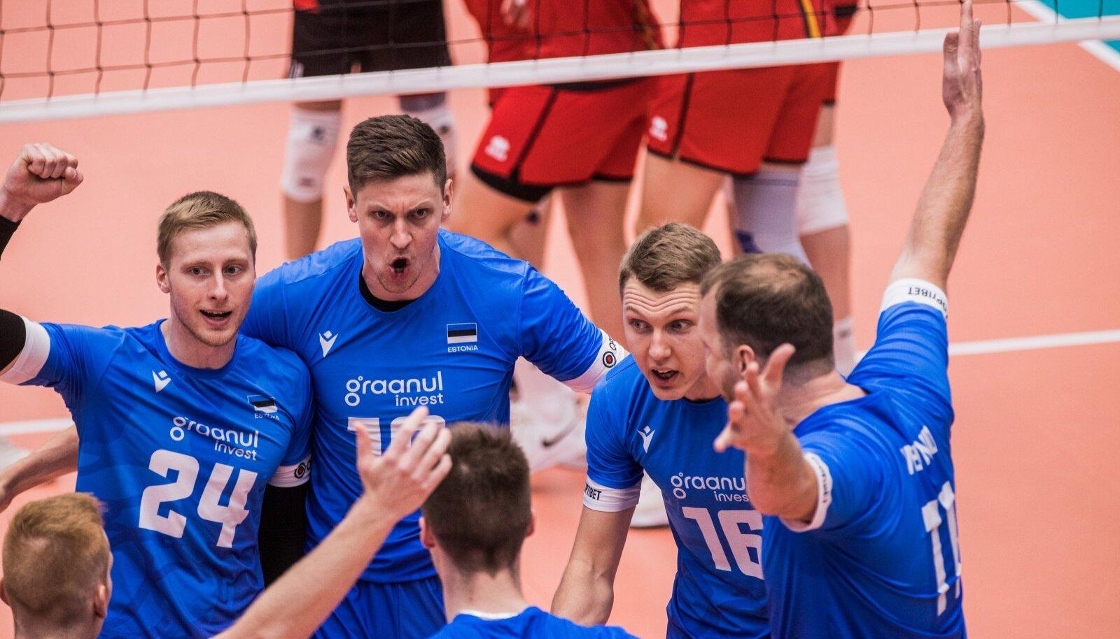 Raskest seisust välja tulnud Eesti võrkpallikoondis alistas põnevusmängus tugeva Belgia.