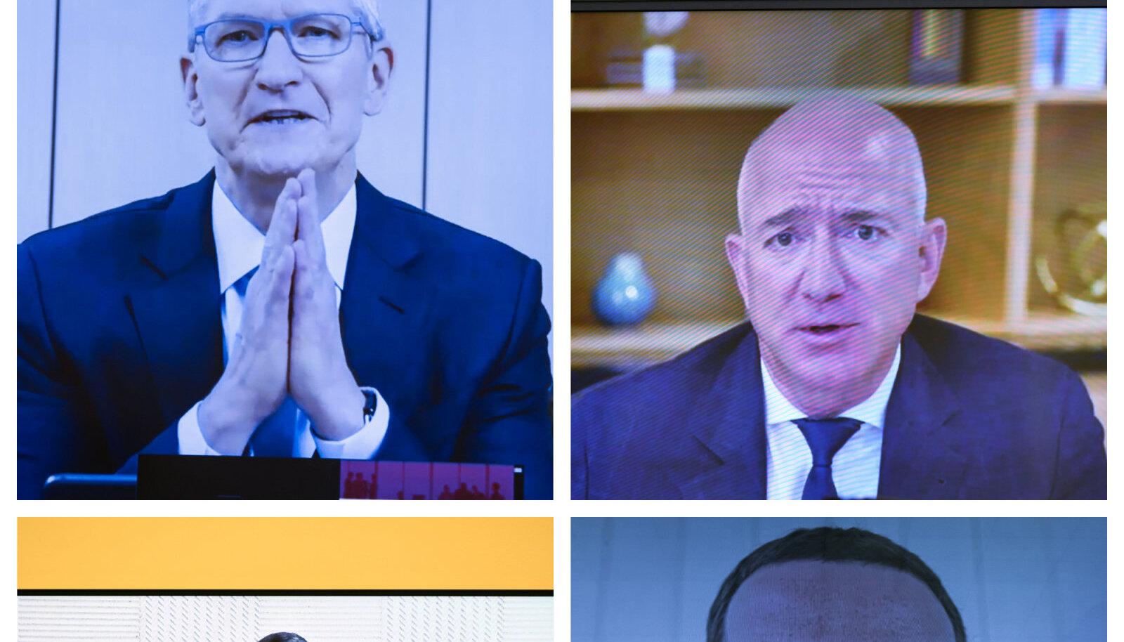 Kollaaž. Üleval vasakul Tim Cook, paremal Jeff Bezos. All vasakul Sundar Pichai, paremal Mark Zuckerberg. Fotod vastavalt: CNP / AdMedia / SIPA, Zumapress.com, AP, Zumapress.com
