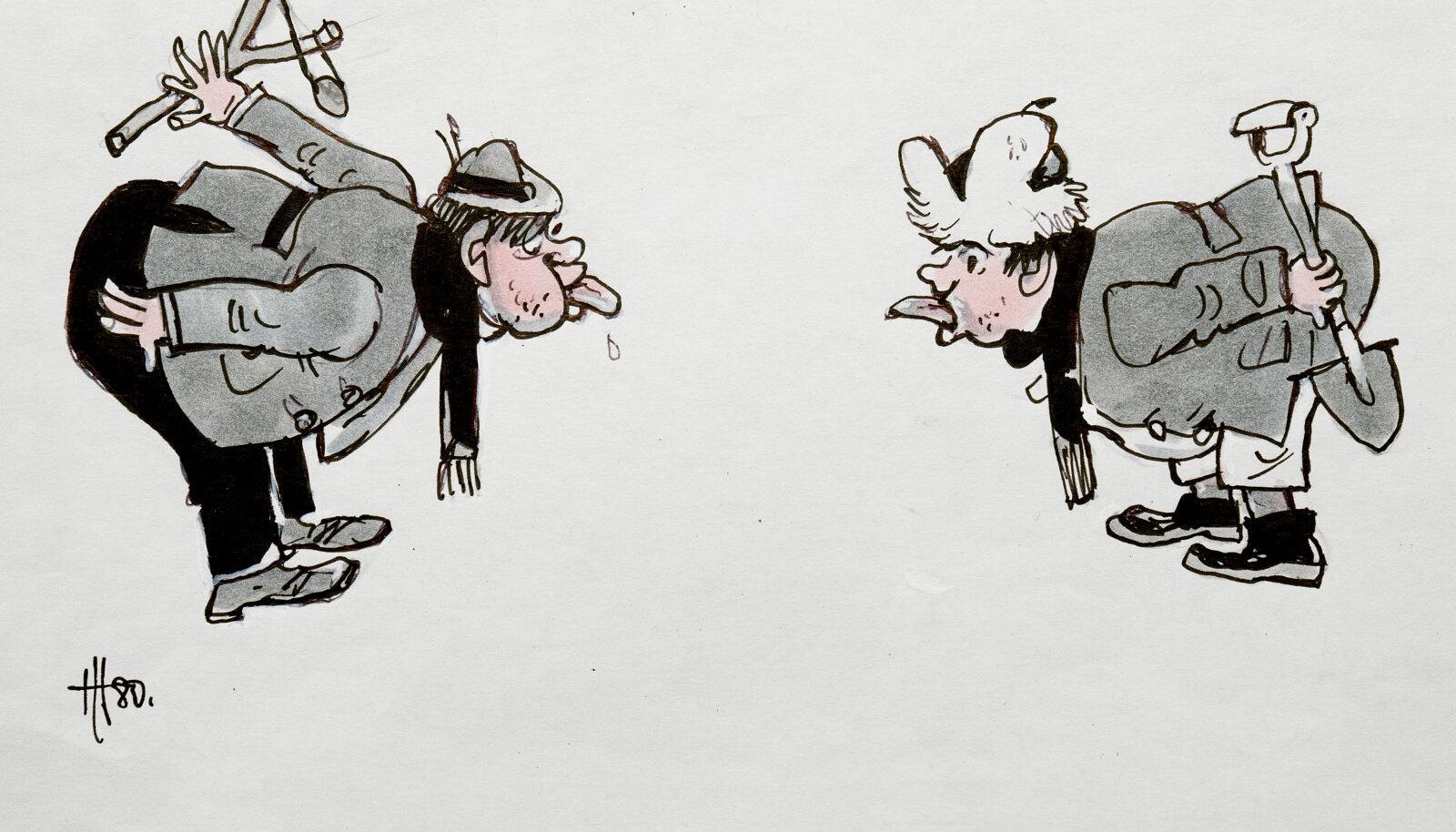 """Hugo Hiibuse karikatuur """"Kakskeelsus"""""""