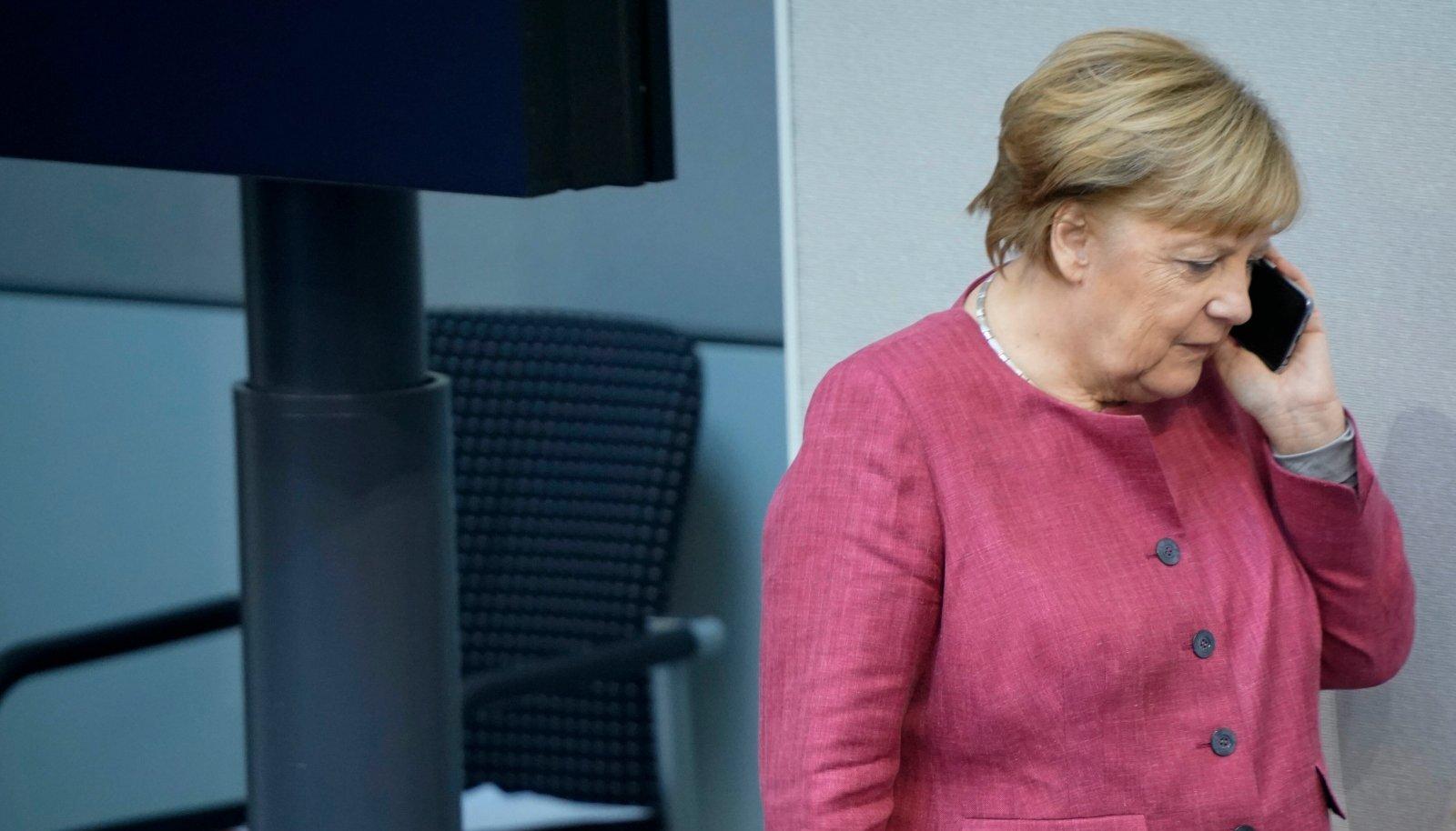 """""""Halloo, kas NSA?"""" Euroopa tipp-poliitikute hulka, keda USA Taani lahke abiga pealt kuulas, kuulub ka Saksamaa liidukantsler Angela Merkel."""