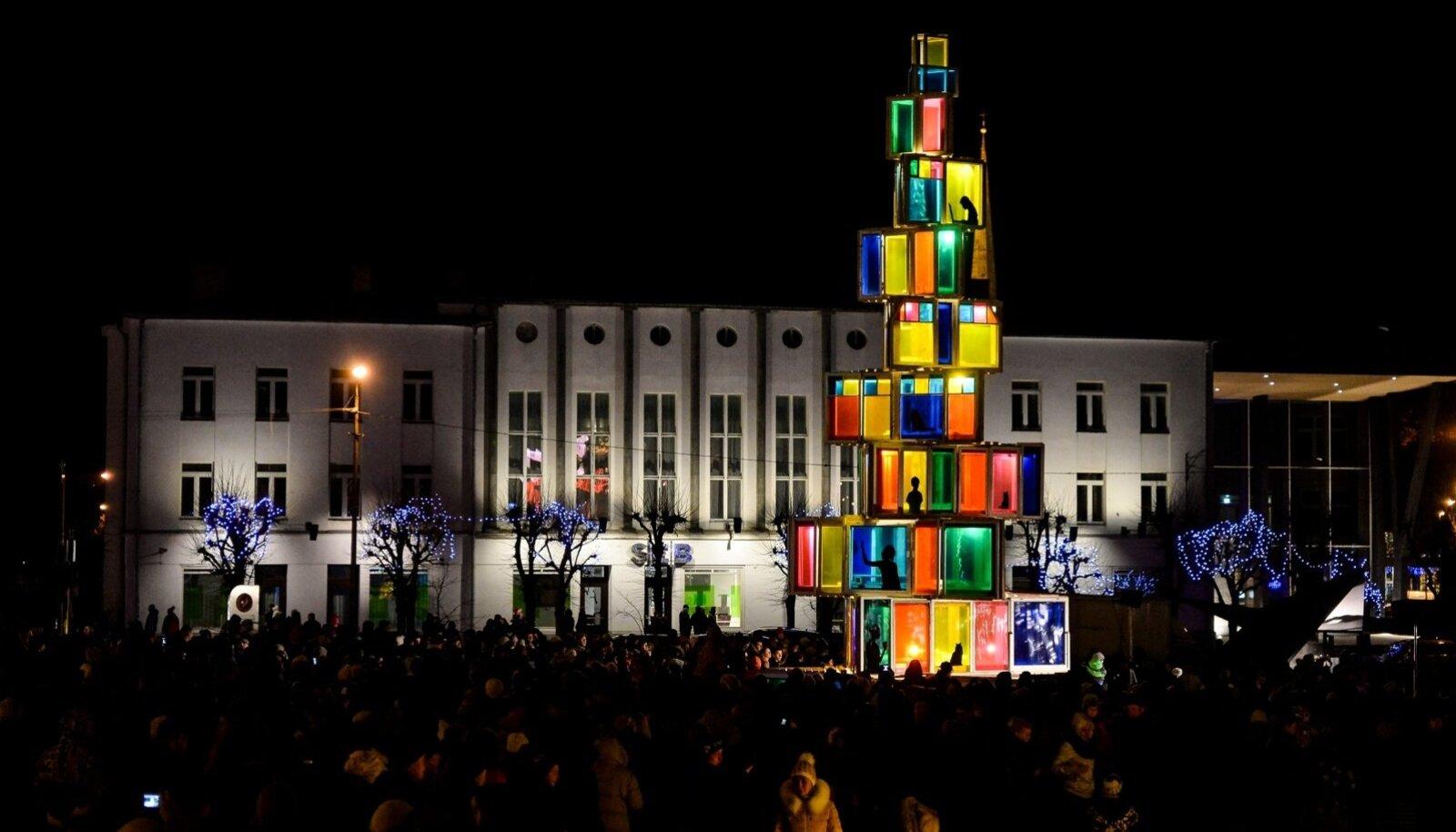 Estonia Rakvere Christmass tree made from used window frames