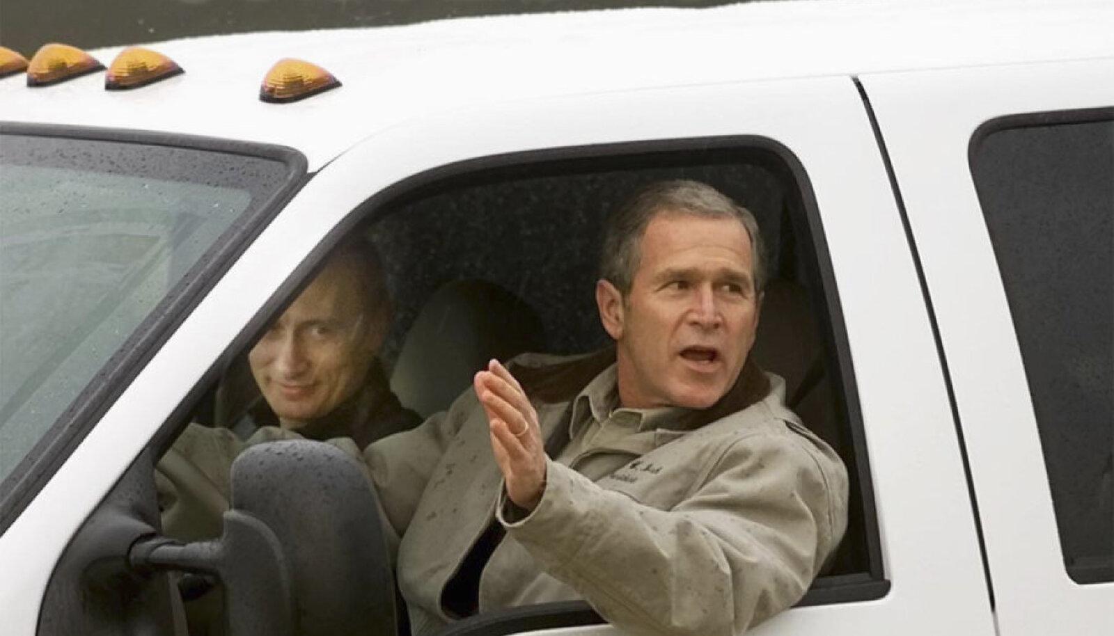 Bush sõidutab Putinit oma rantšos 2001. aasta novembris.