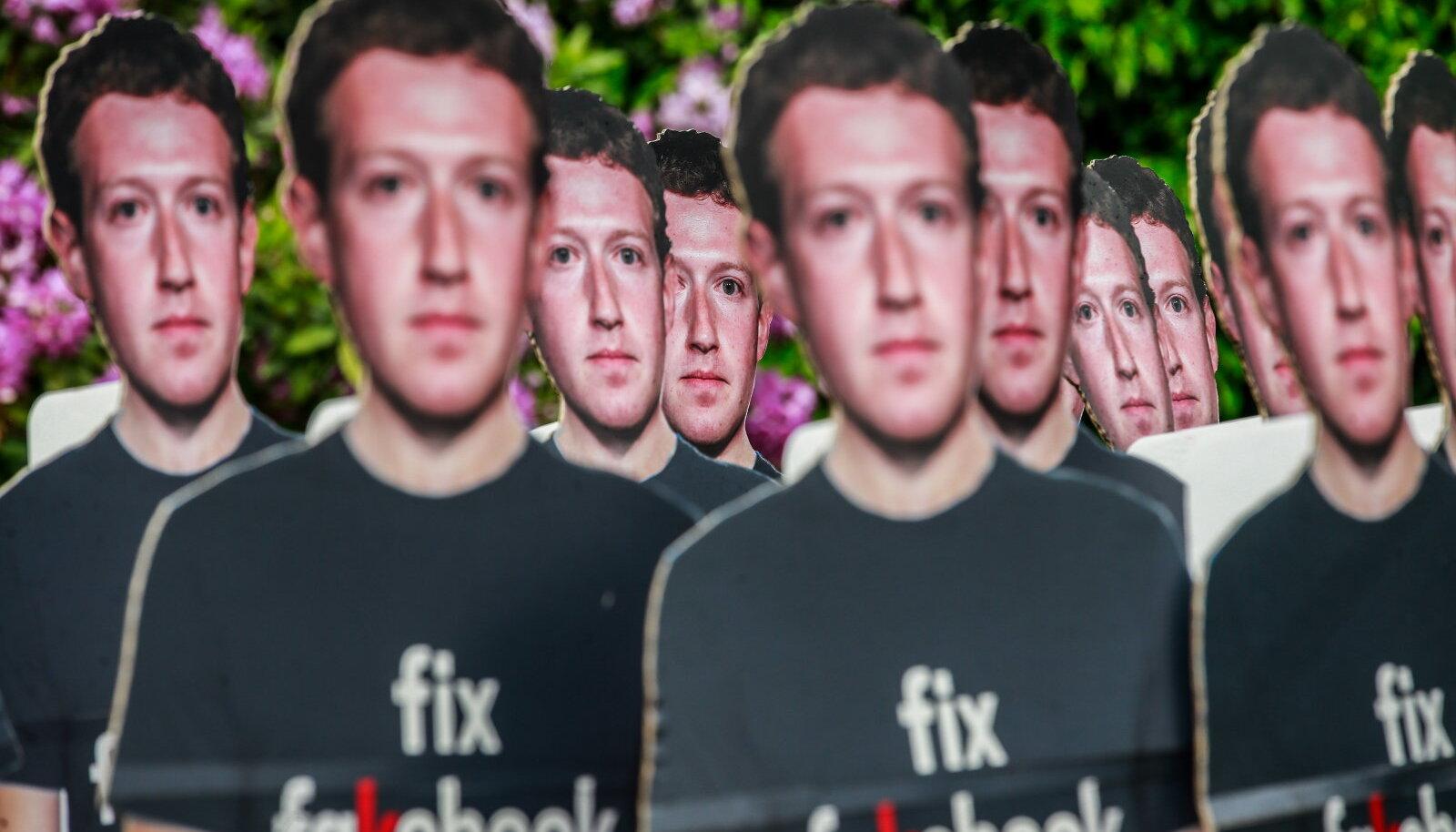 Hetk Facebooki valeuudistest puhastamist nõudvalt meeleavalduselt.