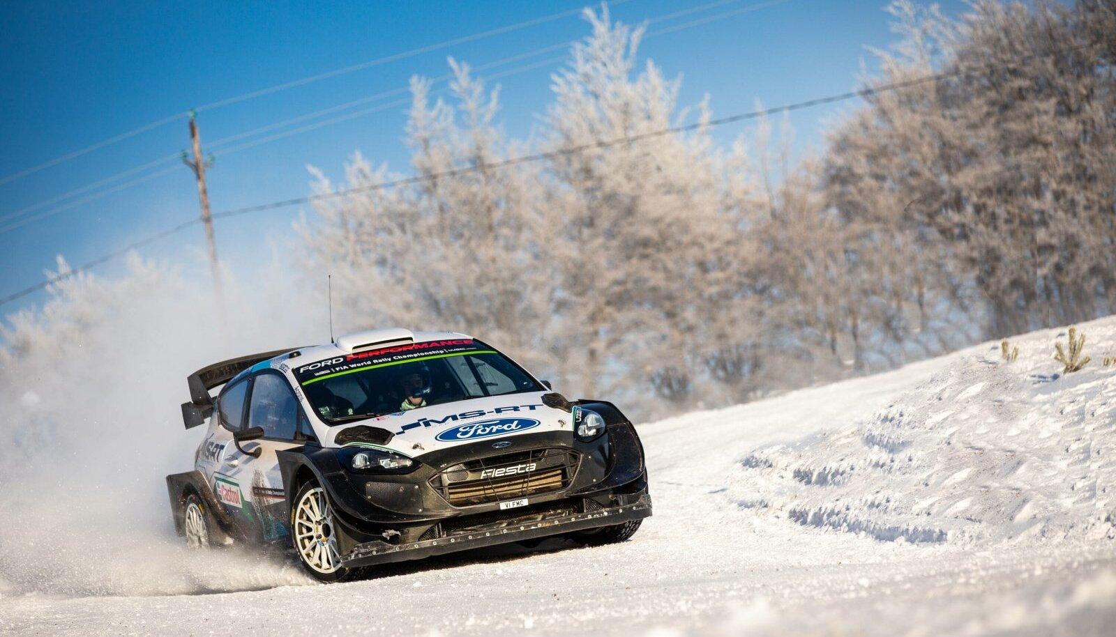 16.01.2021 Ardeche - France Test Pre Rally Monte Carlo 2021, M Ford Fiesta WRC, Motorsport Rallye, WM Schnee, Sonnensch
