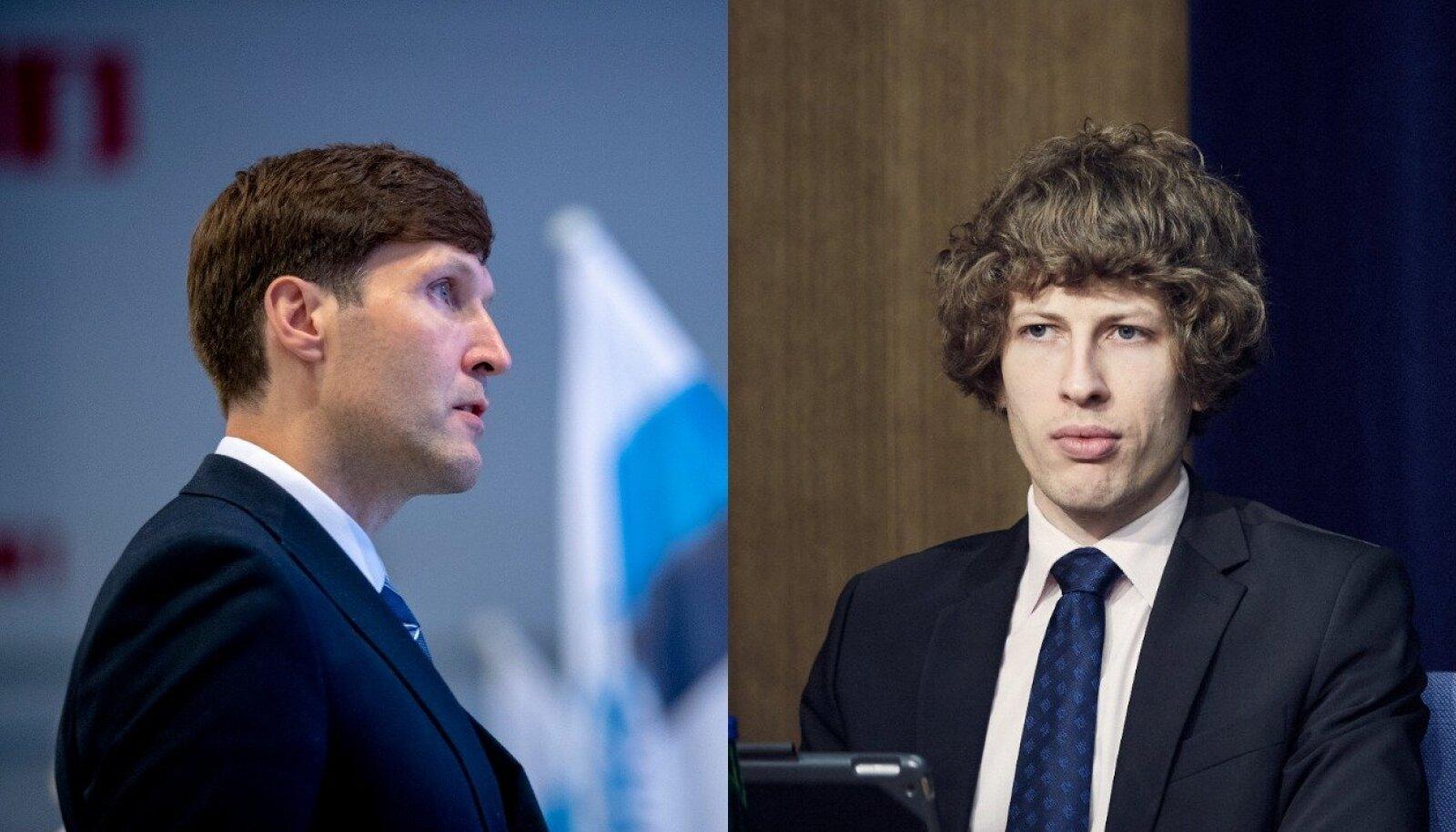 Vasakul rahandusminister Martin Helme (EKRE), paremal sotsiaalminister Tanel Kiik (Keskerakond).