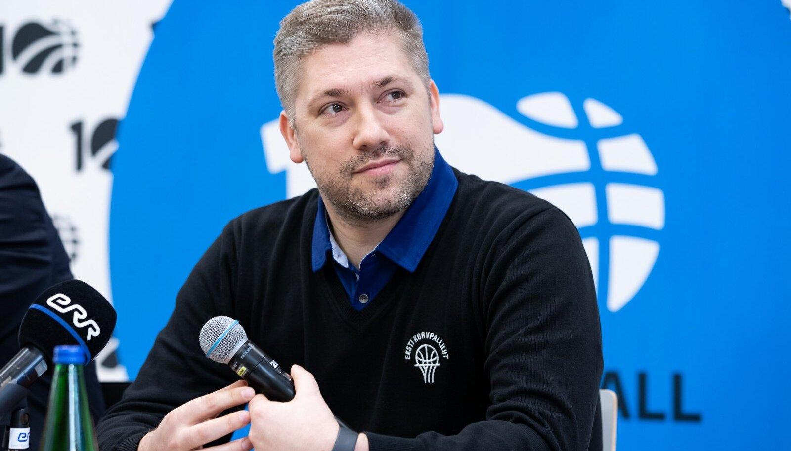 Tallinn, 05.02.2020. Eesti korvpallikoondise pressikonverents Gustav Adolfi gümnaasiumi võimlas.