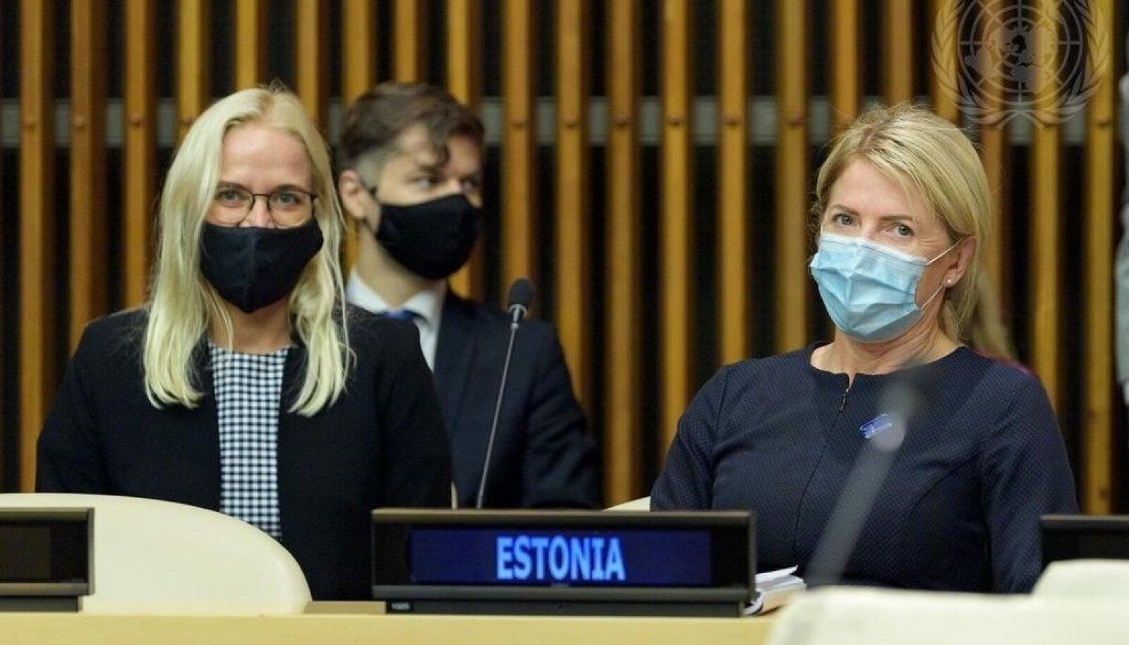 Välisminister Eva-Maria Liimets (paremal) ÜRO julgeolekunõukogus New Yorgis