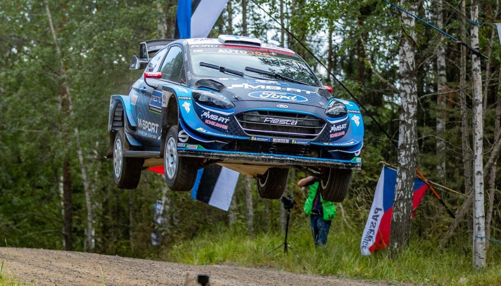 Teemu Suninen 2019. aasta Soome rallil M-Spordi Ford Fiesta WRC roolis.