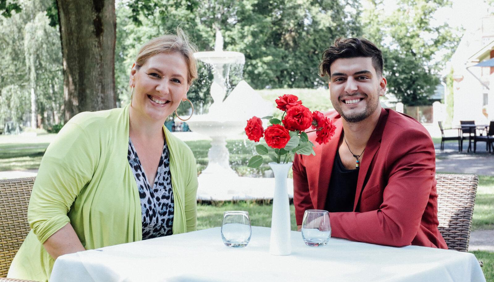 Kaire Vilgats ja Stefan Ammende Villas üllatuslõunasöögil.