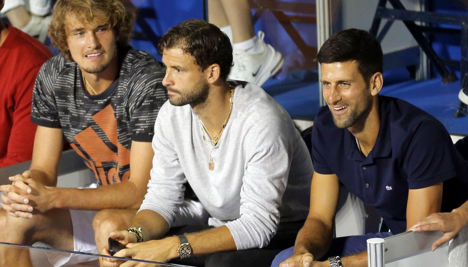 Alexander Zverev, Grigor Dimitrov ja Novak Djokovic