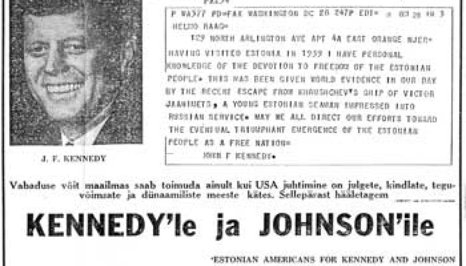 HARULDUS: USA presidendi John Kennedy telegramm eestlastele.