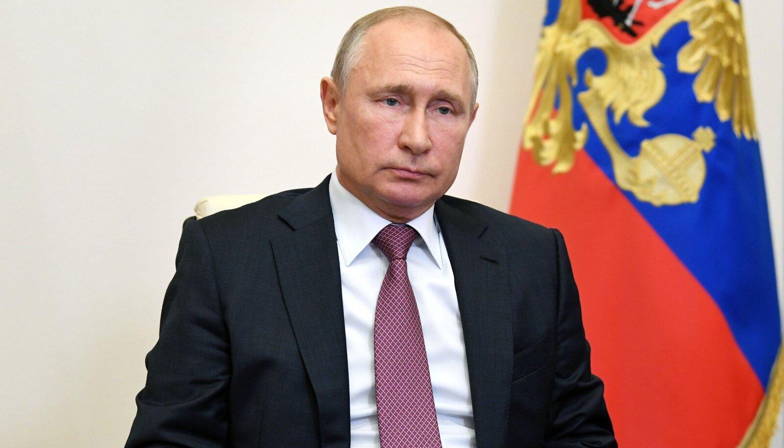 Vene president Vladimir Putin eile riigi julgeolekunõukogu videokohtumisel.