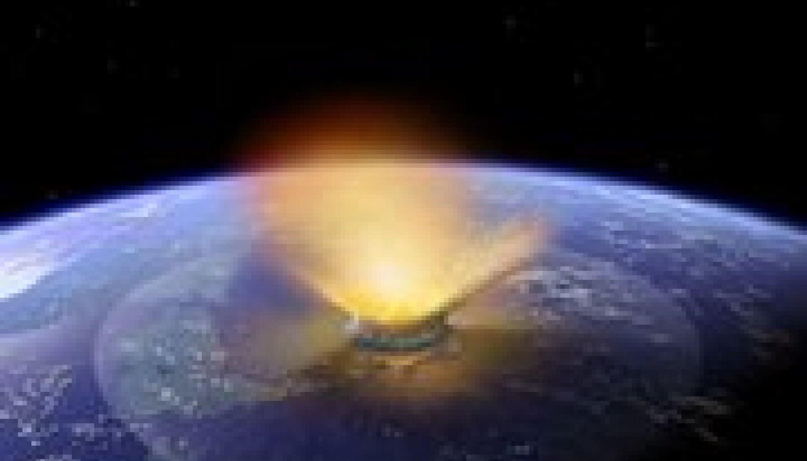 Asteroid 150 miljonit aastat tagasi Maad tabamas, kunstniku nägemuses. Foto Don Davis, AFP