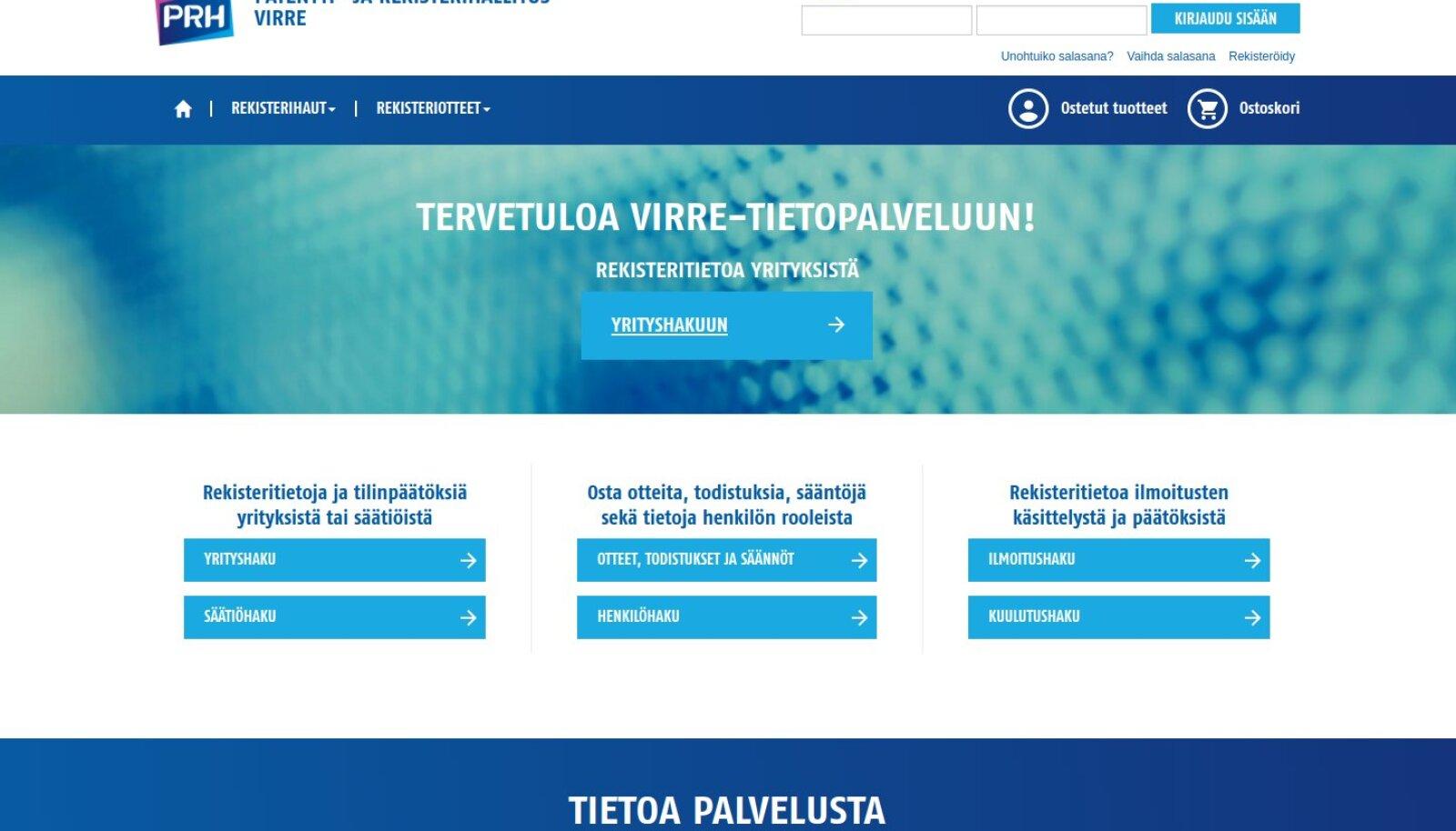 Soome registrivalitsuse PRH äriregistri lehekülg.