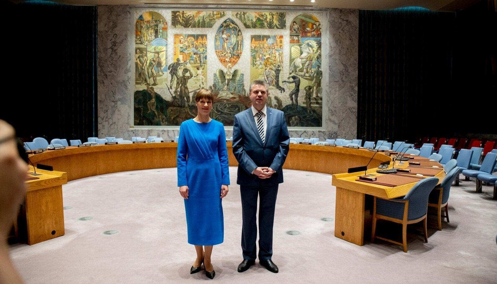 Eesti pidupäev: Kersti Kaljulaid ja Urmas Reinsalu rõõmustamas, et Eesti pingutusi pärjati - saime kaheks aastaks ÜRO valitud liikmeks. Taamal kuulus seinamaal.