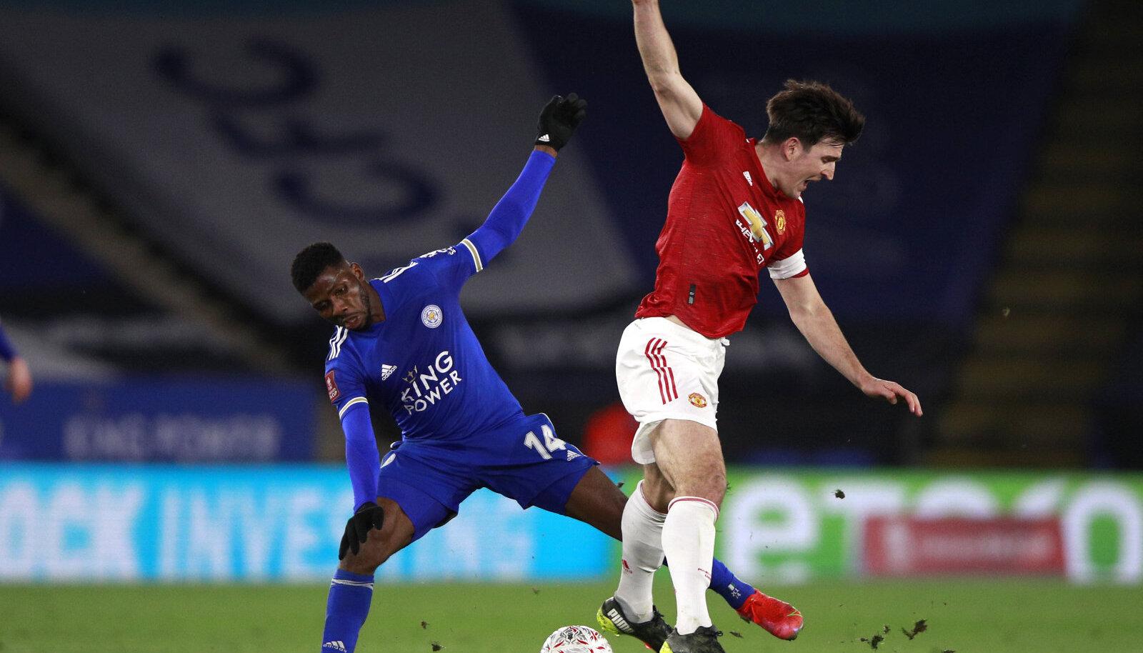 Kaks väravat löönud Kelechi Iheanacho (vasakul) ja Manchester Unitedi kapten Harry Maguire.