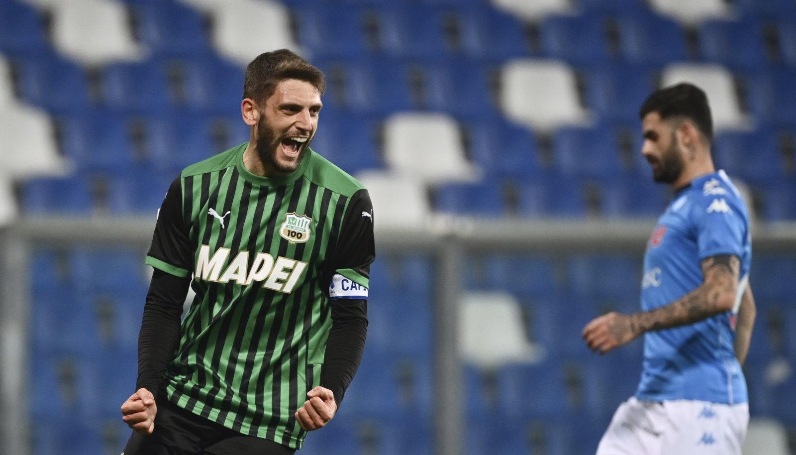 Itaalia klubi Sassuolo põhivormis kasutatakse palju rohelist. Pildil Domenico Berardi.