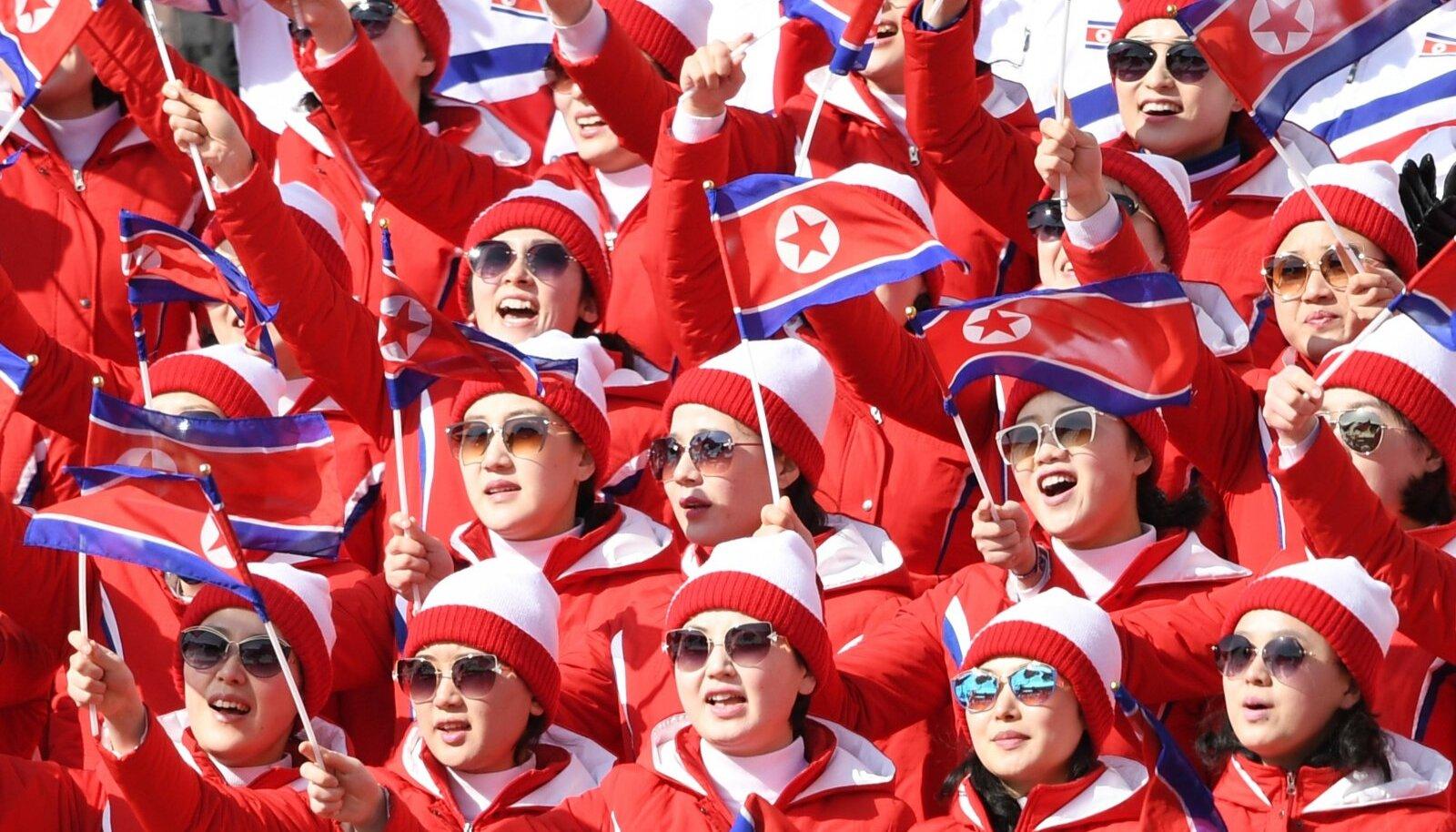 Põhja-Korea fännid 2018. aasta Pyeongchangi taliolümpiamängudel.