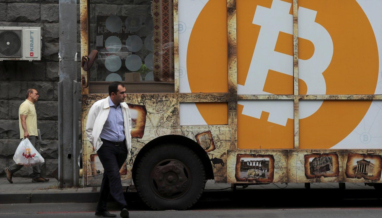 Bitcoini logo Armeenia pealinnas Jerevanis.