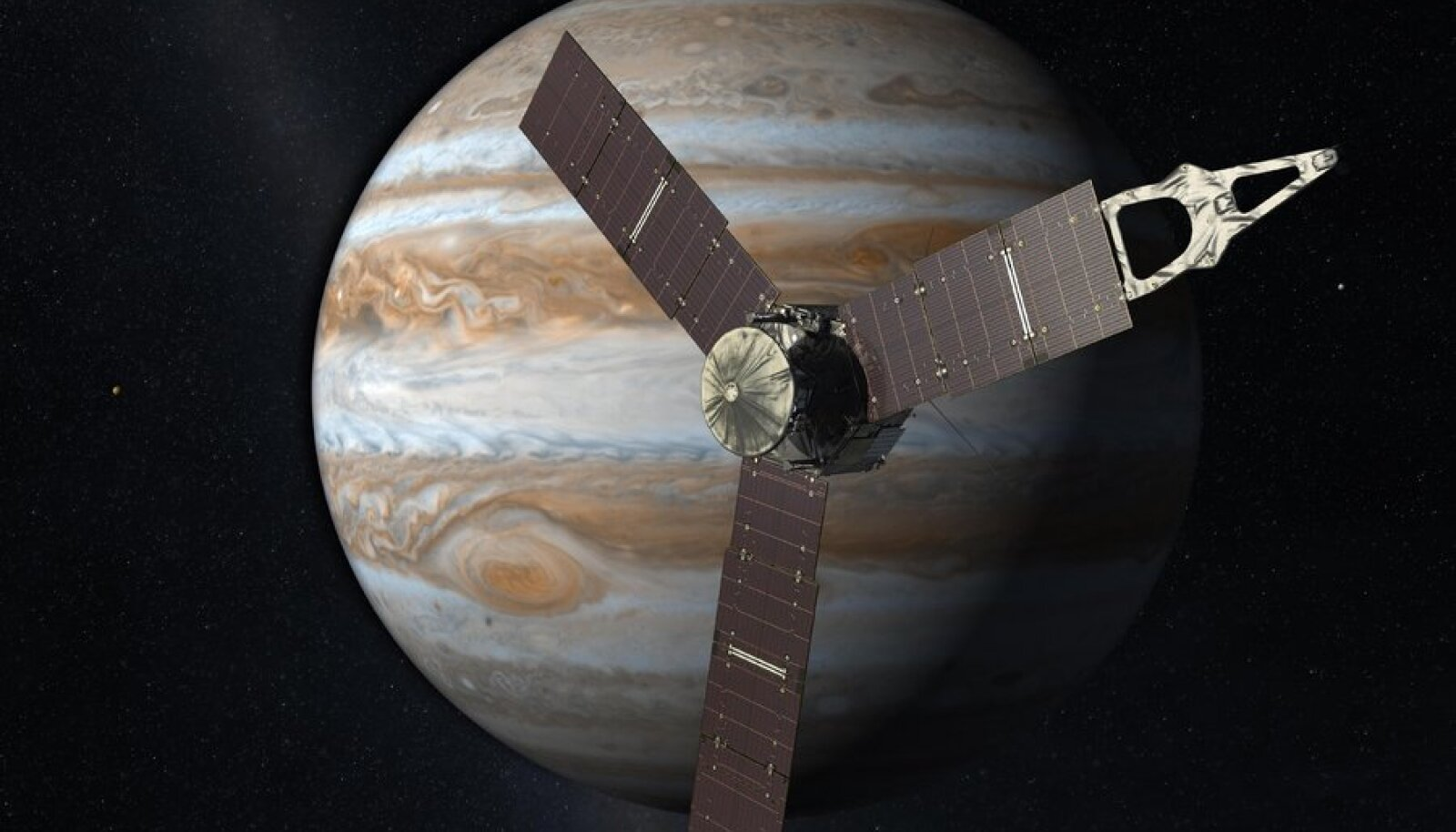 Juno võrdlus Jupiteriga. NASA/JPL